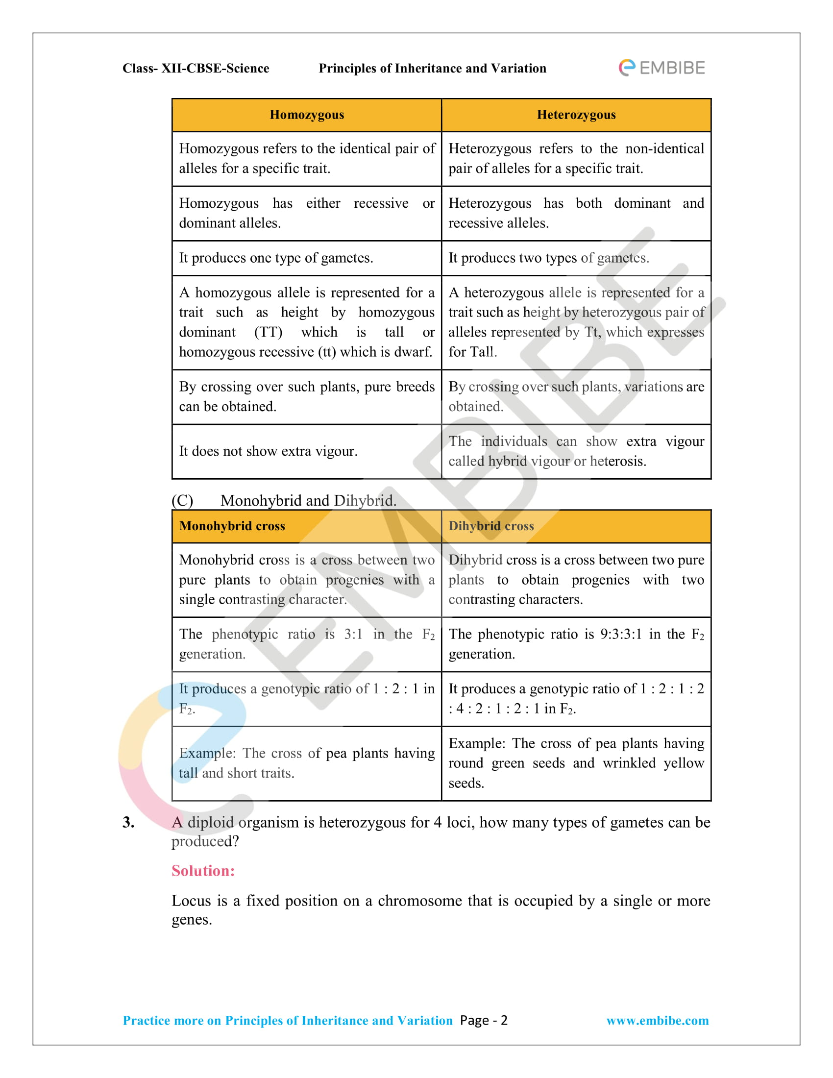 NCERT Solutions for Class 12 Biology Chapter 5: Principles Of Inheritance And Variation -2