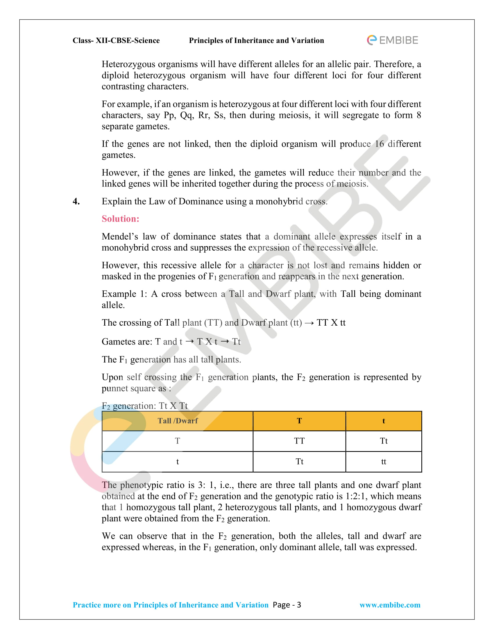 NCERT Solutions for Class 12 Biology Chapter 5: Principles Of Inheritance And Variation -3