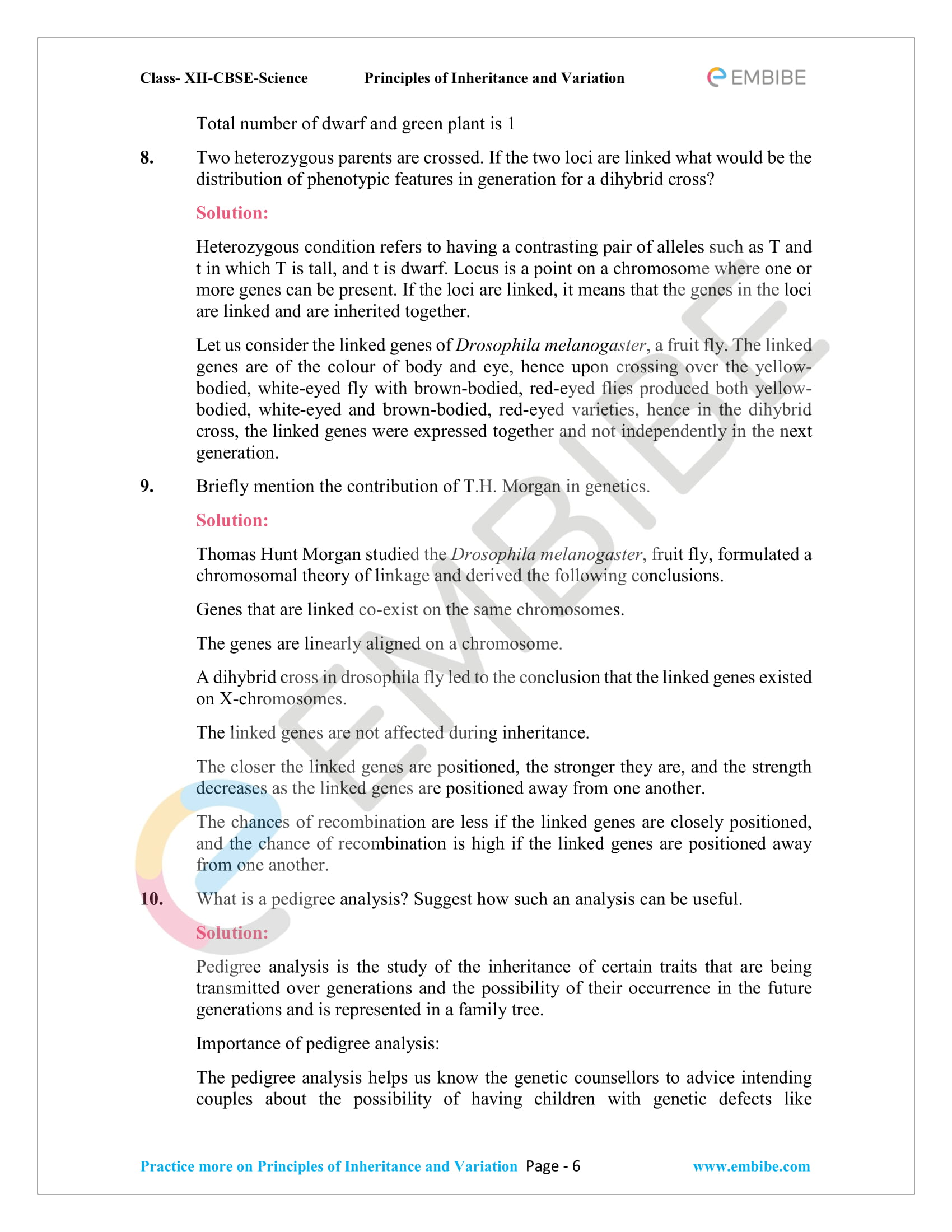 NCERT Solutions for Class 12 Biology Chapter 5: Principles Of Inheritance And Variation - 6