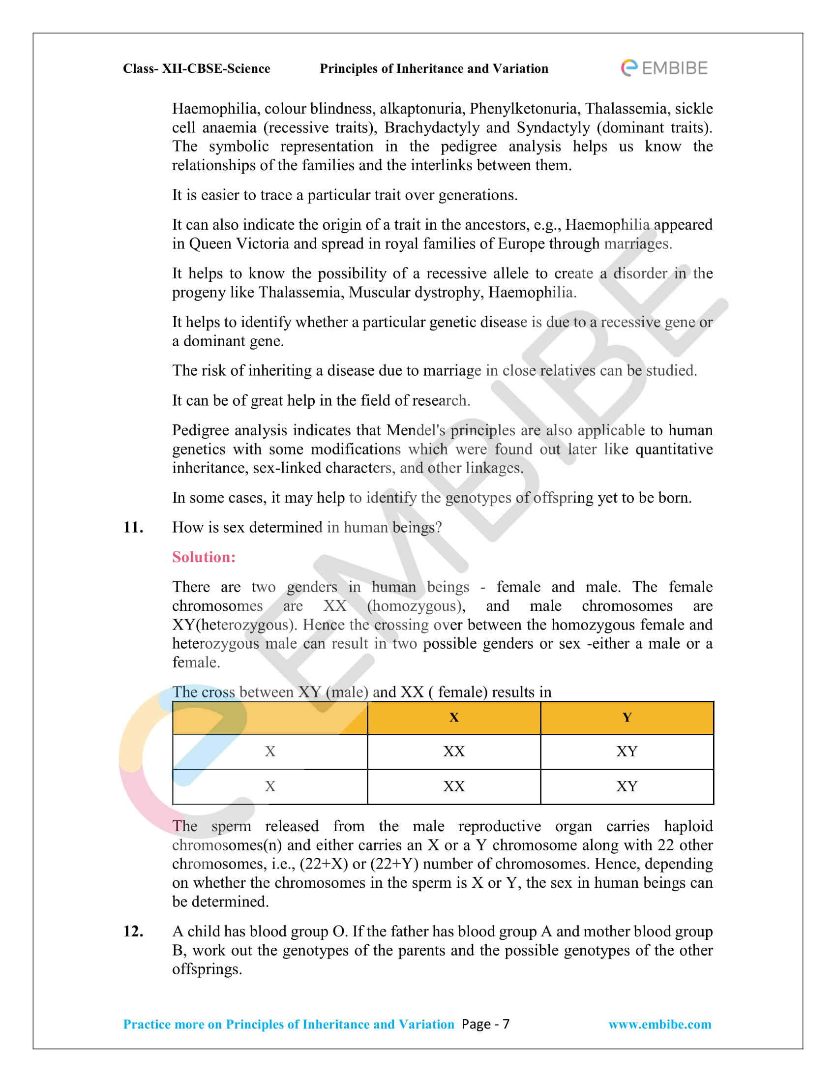 NCERT Solutions for Class 12 Biology Chapter 5: Principles Of Inheritance And Variation - 7