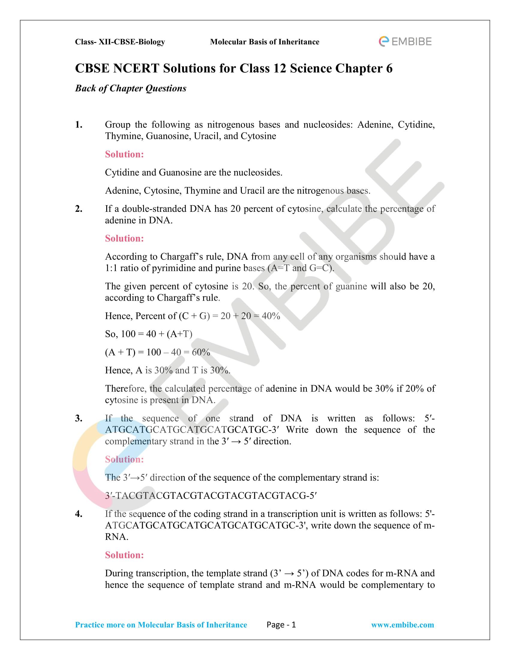 NCERT Solutions for Class 12 Biology Chapter 6: Molecular Basis Of Inheritance - 1