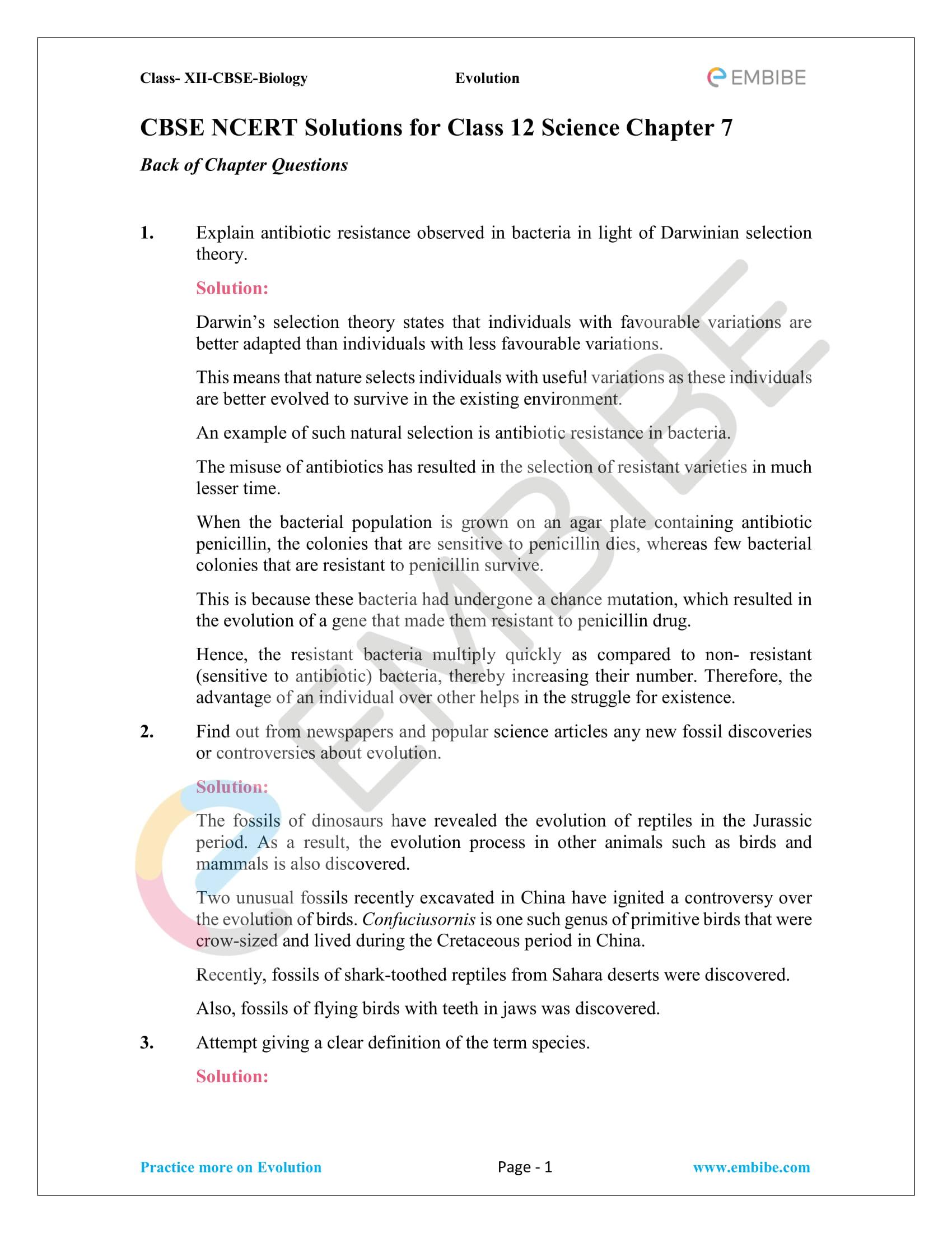 NCERT Solutions for Class 12 Biology Chapter 7 - Evolution - 1