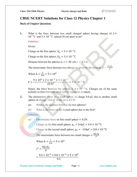 NCERT Solutions for Class 12 Physics Chapter 1 Electric Charges and Field embibe-01