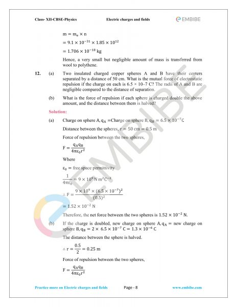 NCERT Solutions for Class 12 Physics Chapter 1 Electric Charges and Field embibe-08