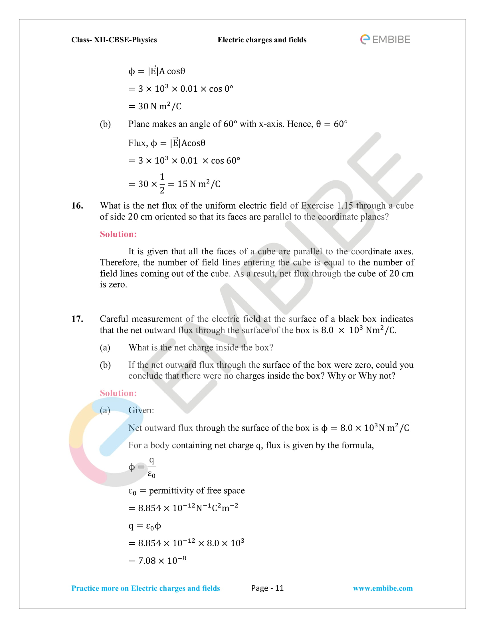 NCERT Solutions for Class 12 Physics Chapter 1 Electric Charges and Field embibe-11
