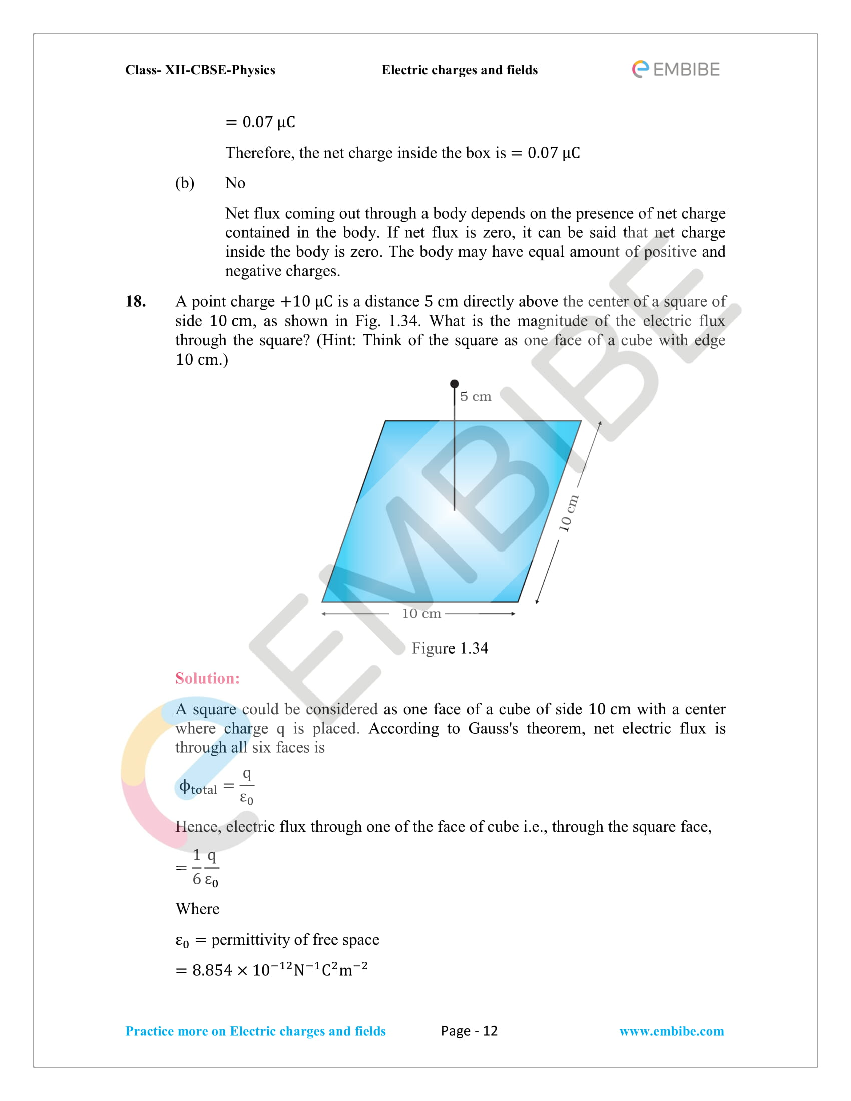 NCERT Solutions for Class 12 Physics Chapter 1 Electric Charges and Field embibe-12