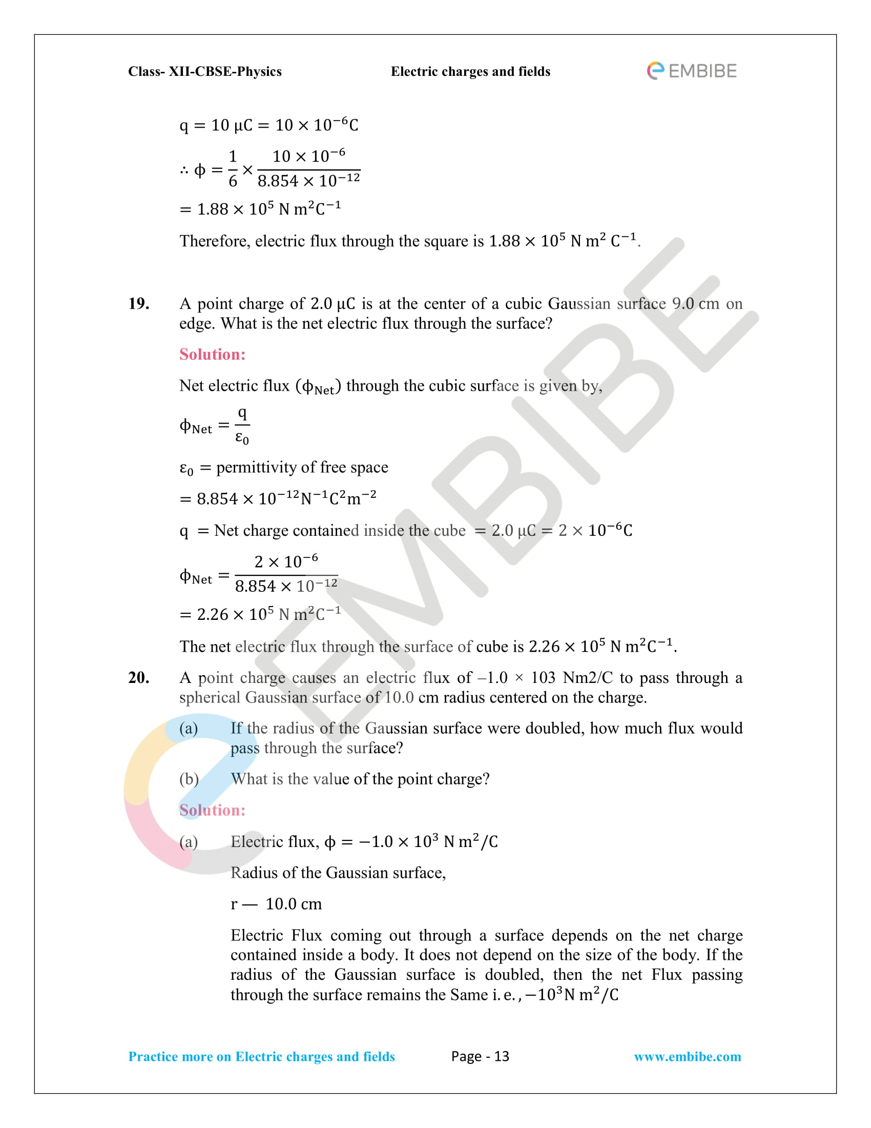 NCERT Solutions for Class 12 Physics Chapter 1 Electric Charges and Field embibe-13