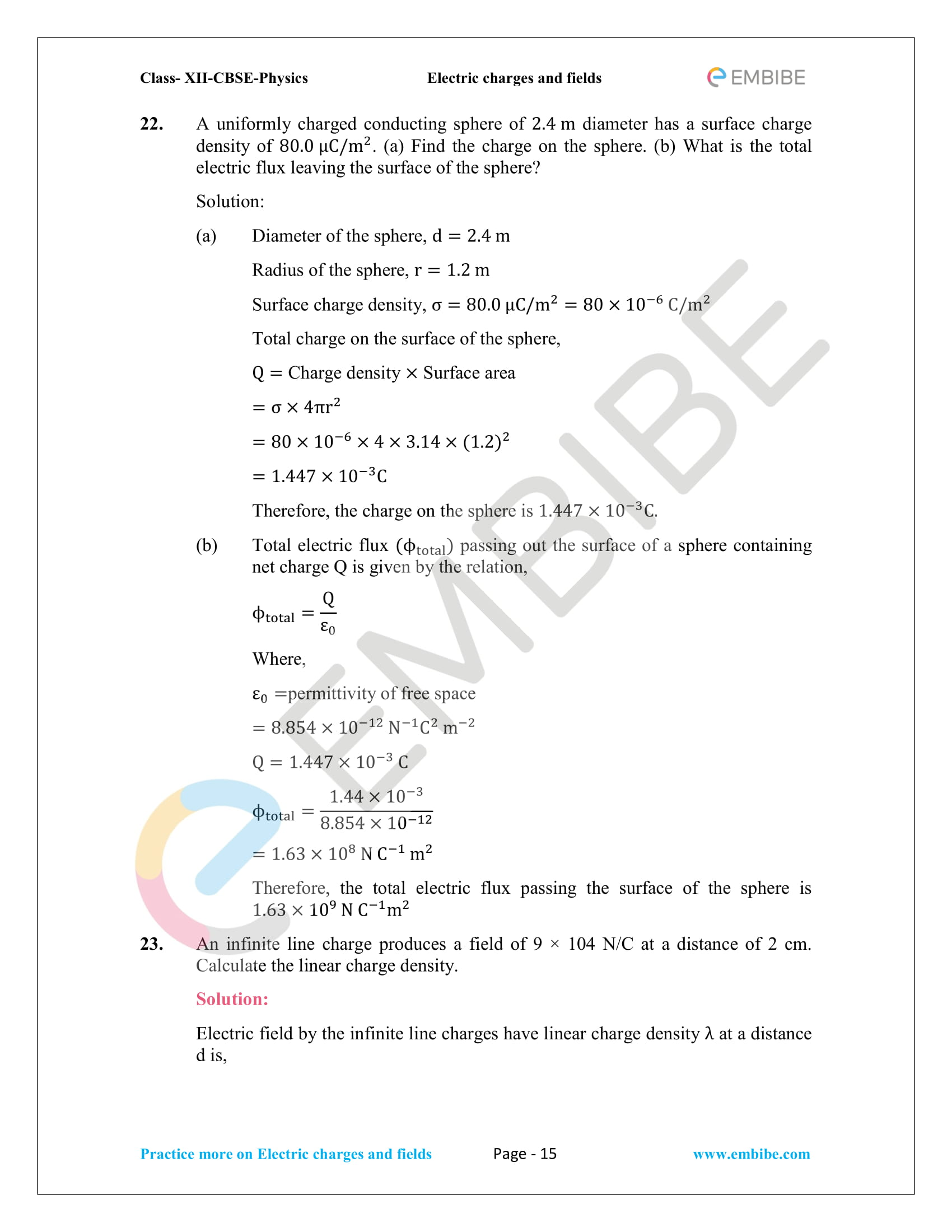 NCERT Solutions for Class 12 Physics Chapter 1 Electric Charges and Field embibe-15