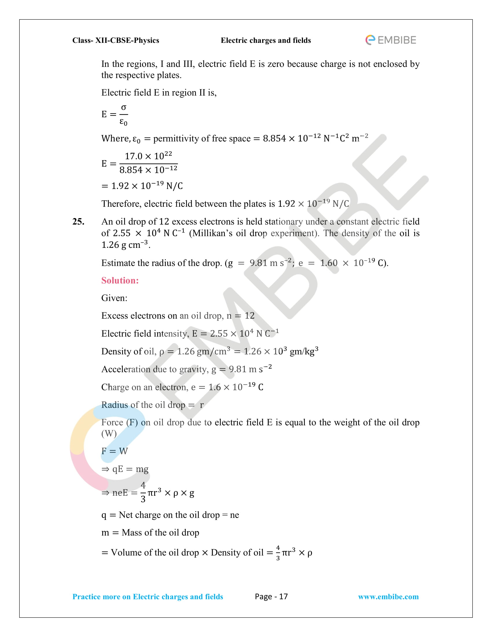 NCERT Solutions for Class 12 Physics Chapter 1 Electric Charges and Field embibe-17