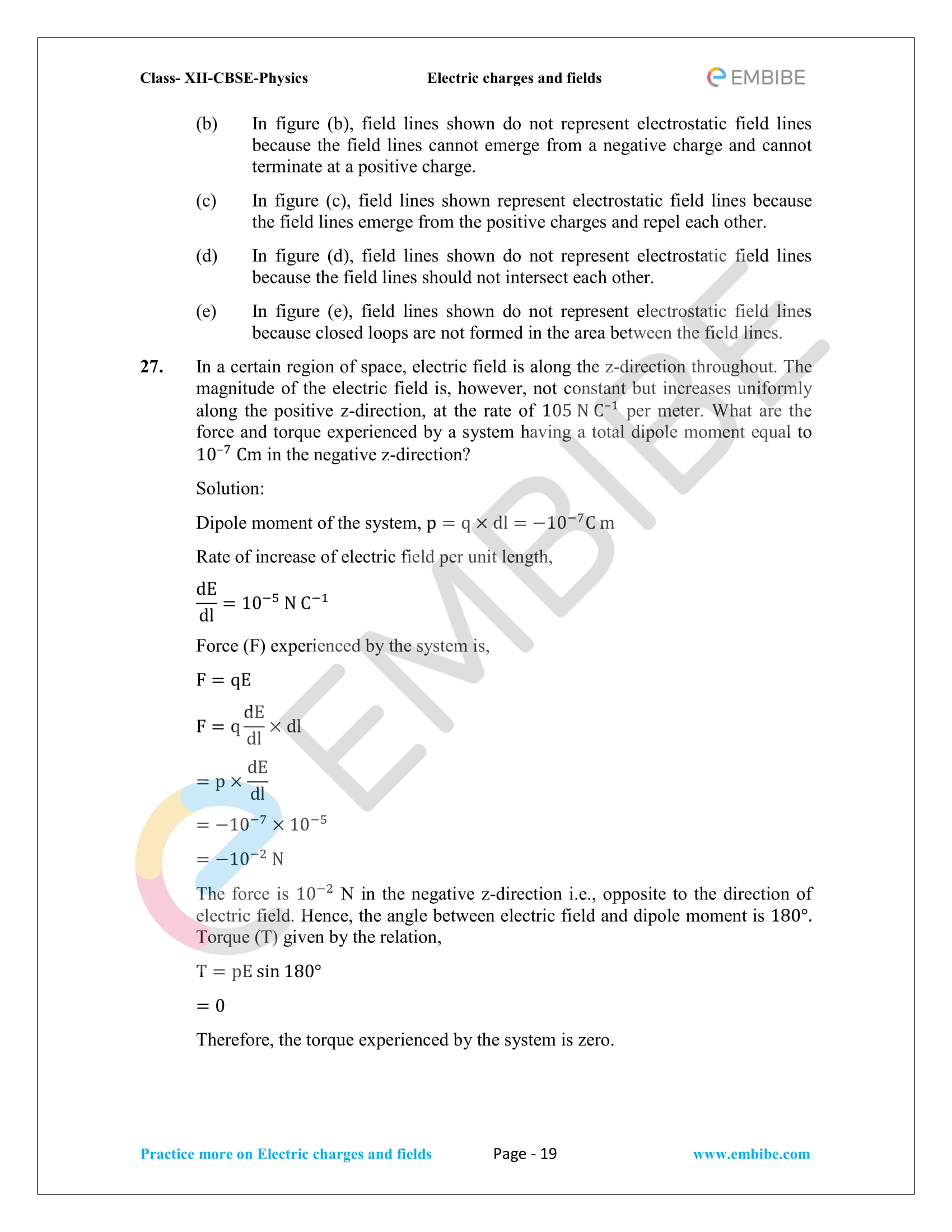 NCERT Solutions for Class 12 Physics Chapter 1 Electric Charges and Field embibe-19