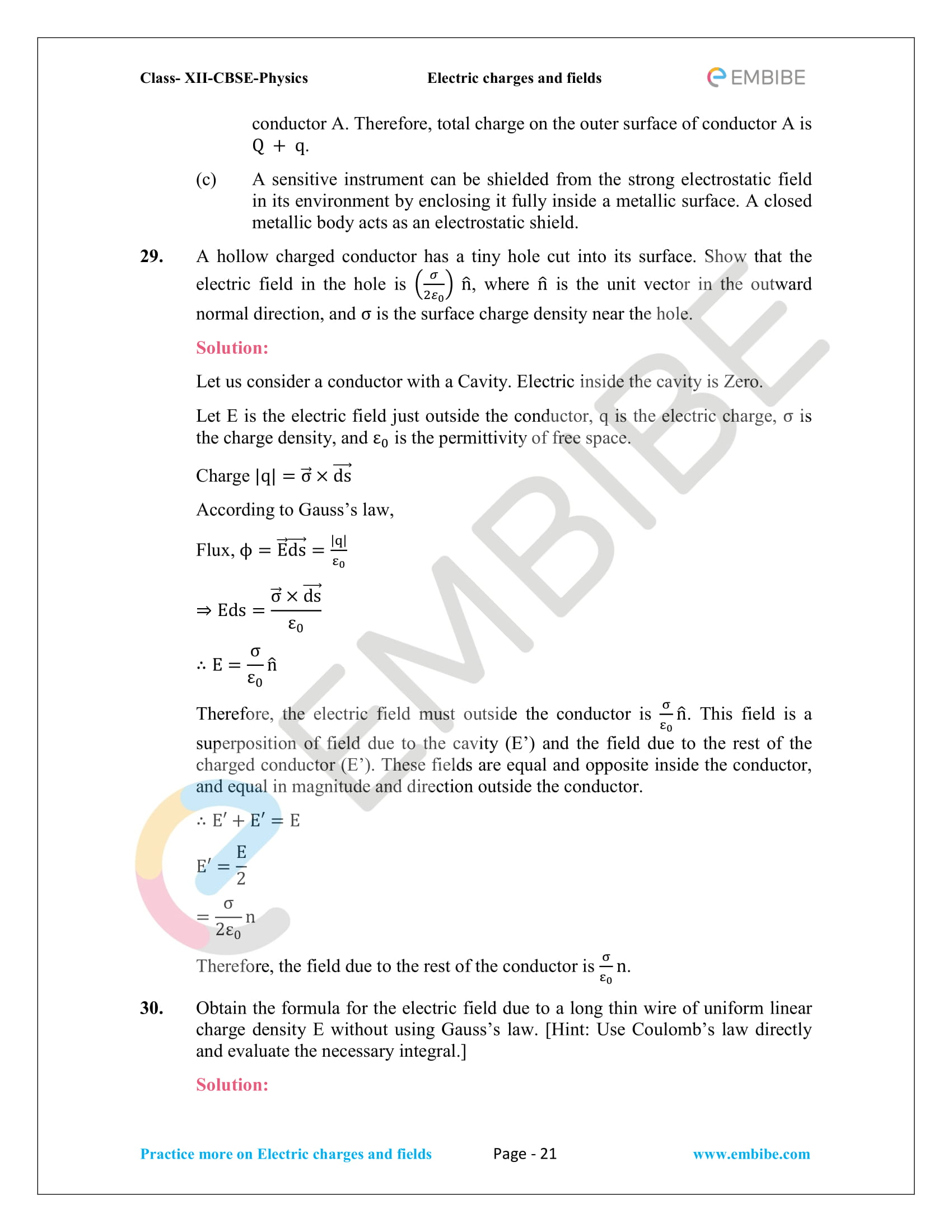 NCERT Solutions for Class 12 Physics Chapter 1 Electric Charges and Field embibe-21