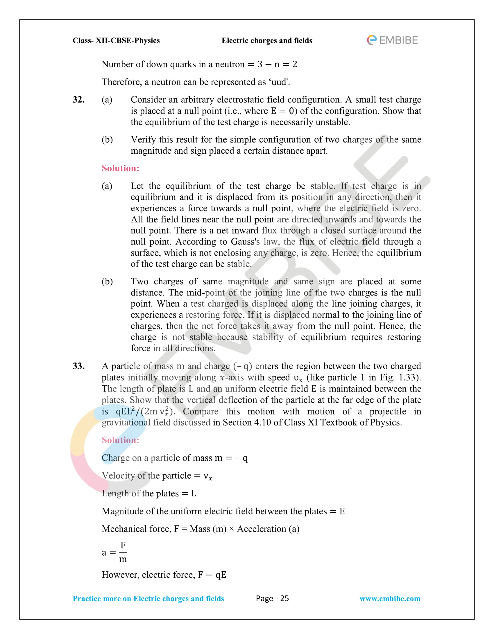 NCERT Solutions for Class 12 Physics Chapter 1 Electric Charges and Field embibe-25