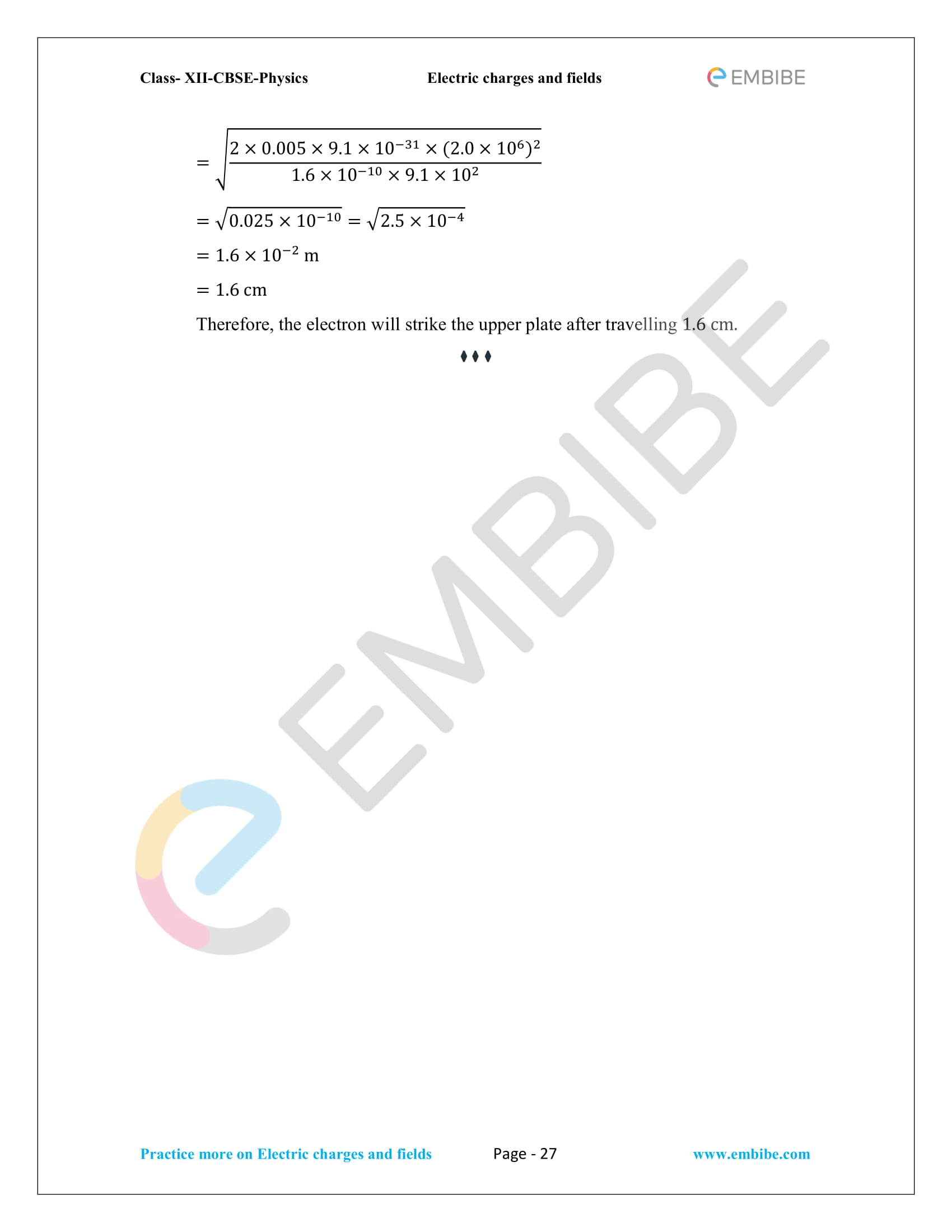 NCERT Solutions for Class 12 Physics Chapter 1 Electric Charges and Field embibe-27