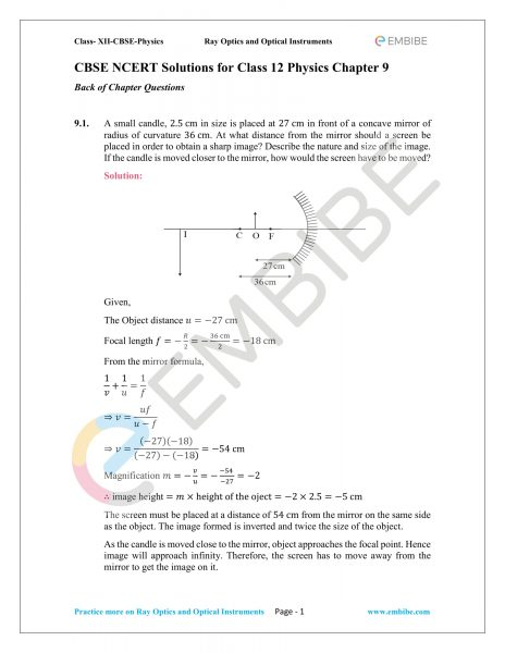 CBSE NCERT Solutions Class 12 Physics Chapter 9 PDF – Download Ray Optics And Optical Instruments