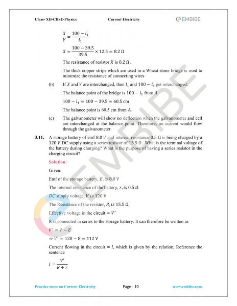 CBSE NCERT Solutions For Class 12 Physics Chapter 3: Current Electricity (PDF Download)