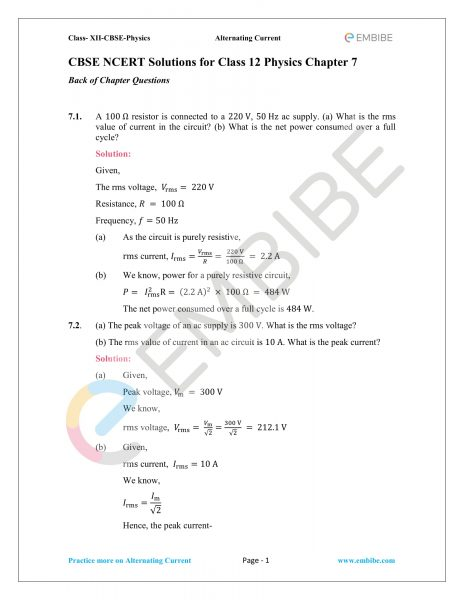 NCERT Solutions for Class 12 Chapter 7 Alternating Current-01