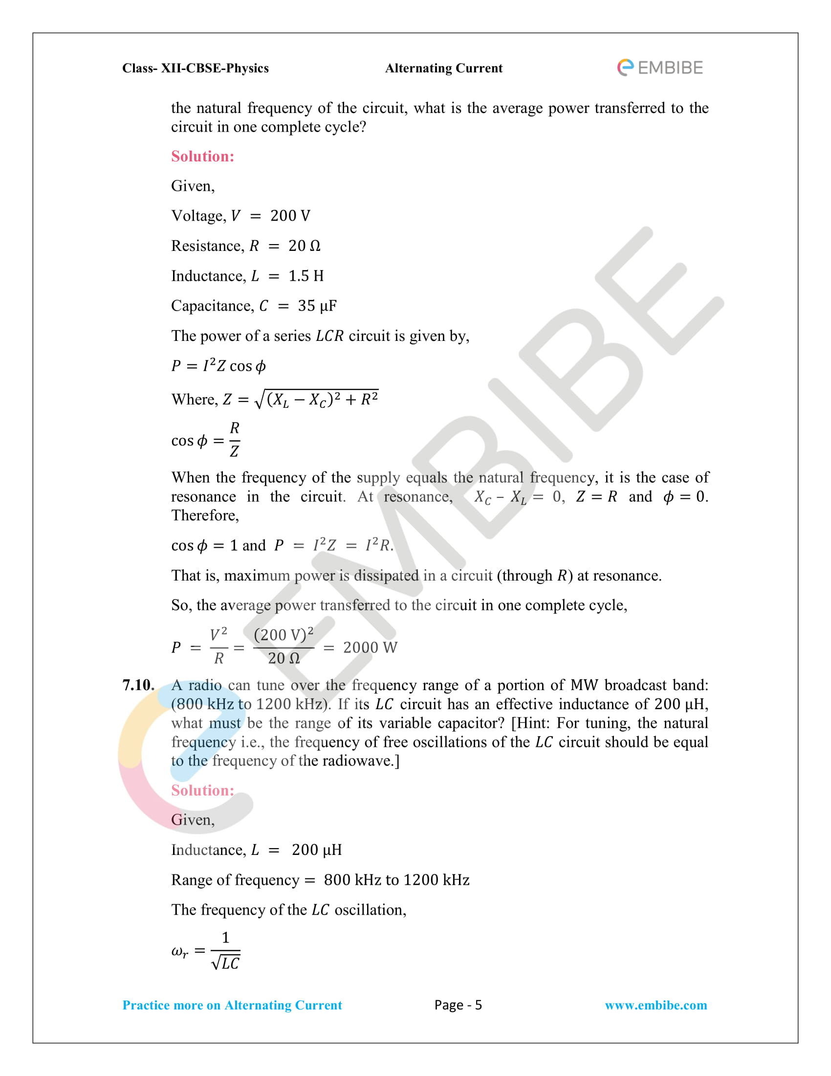NCERT Solutions for Class 12 Chapter 7 Alternating Current-05