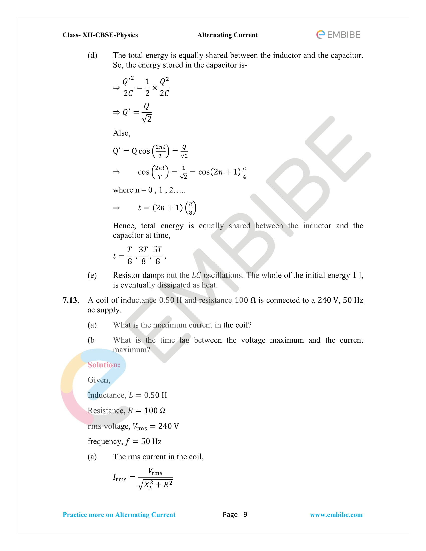 NCERT Solutions for Class 12 Chapter 7 Alternating Current-09
