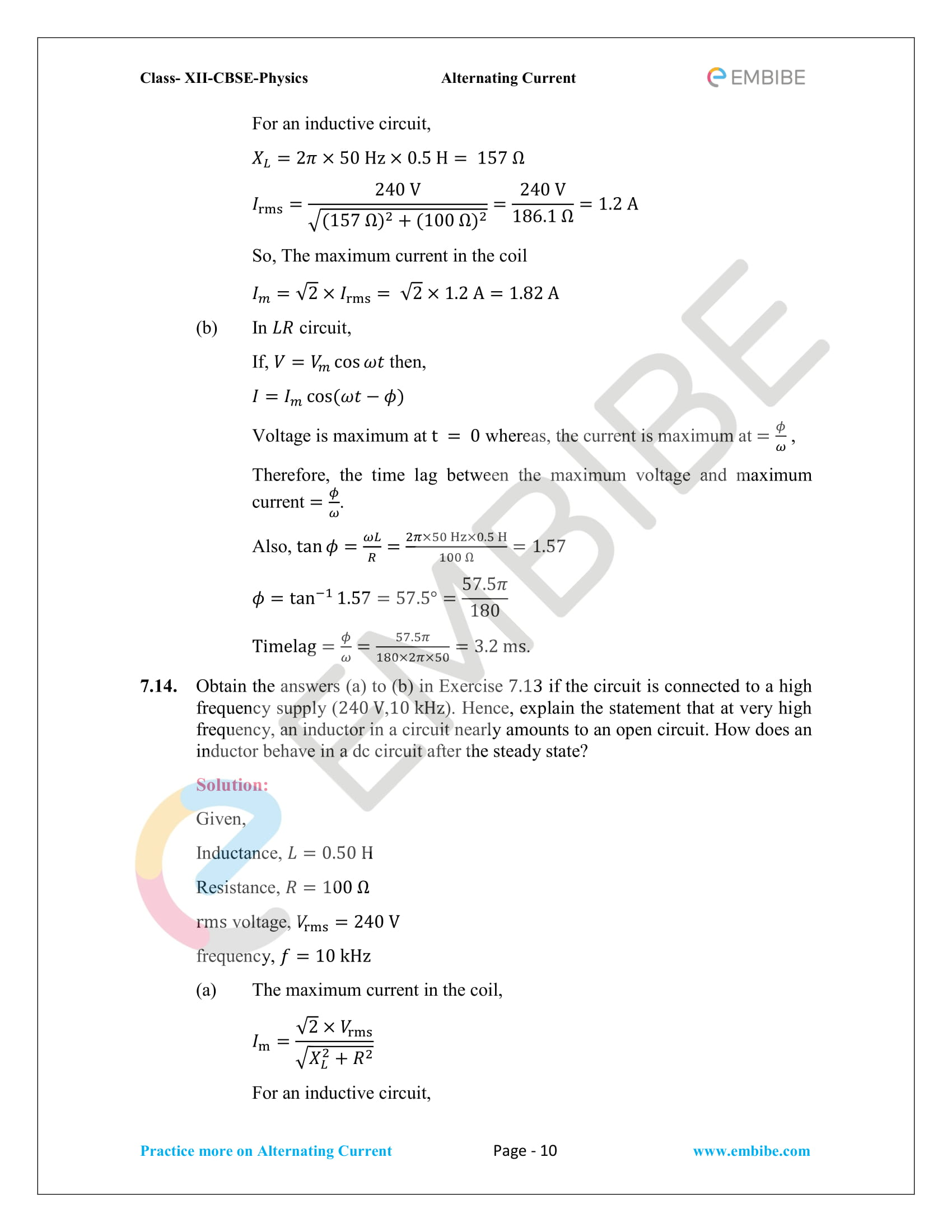 NCERT Solutions for Class 12 Chapter 7 Alternating Current-10