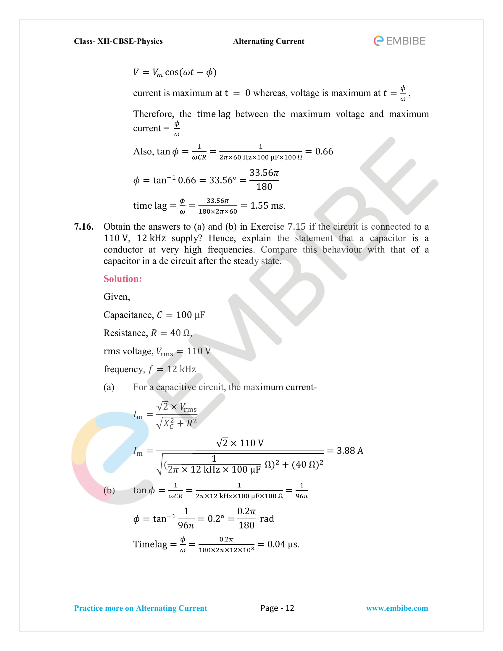 NCERT Solutions for Class 12 Chapter 7 Alternating Current-12