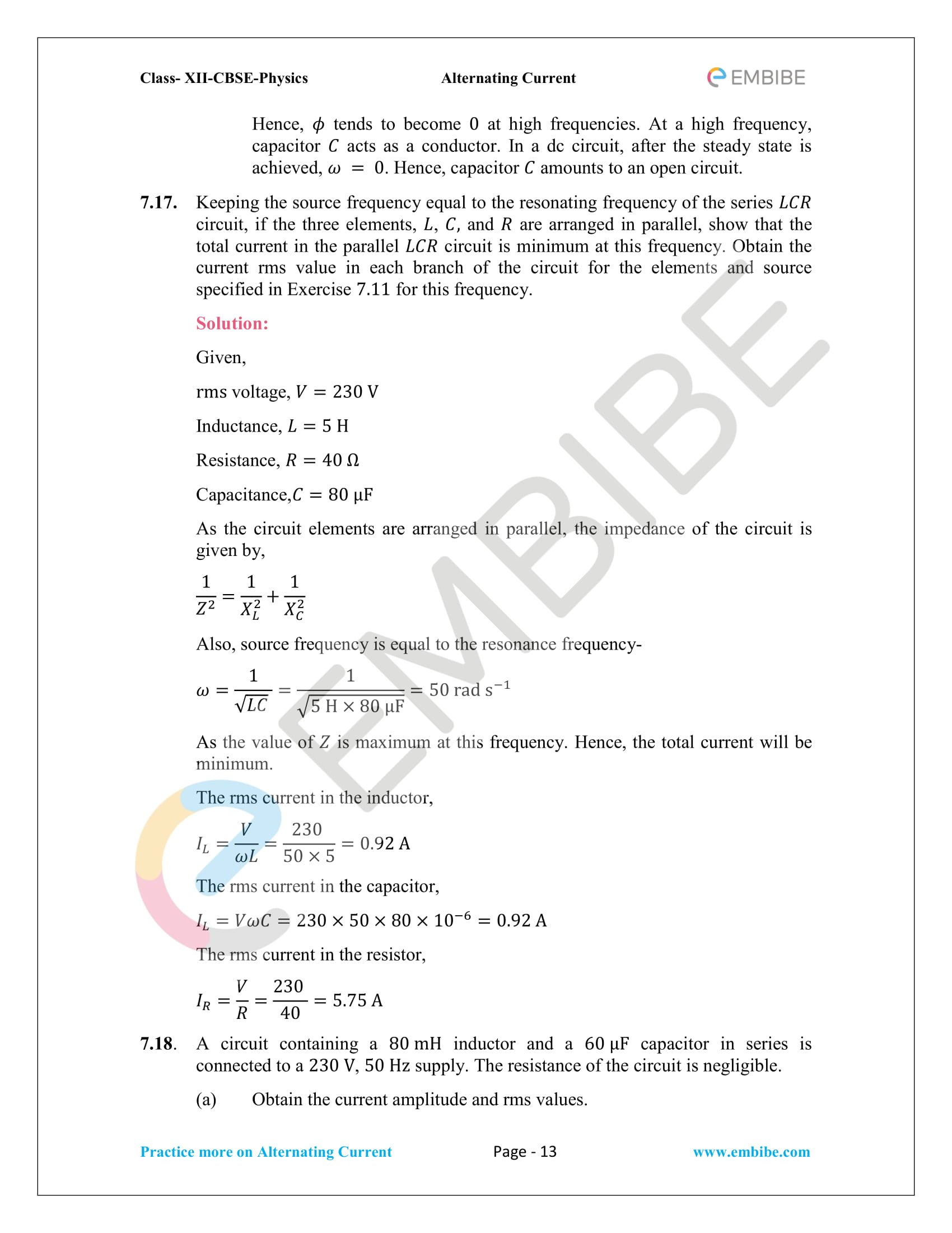 NCERT Solutions for Class 12 Chapter 7 Alternating Current-13