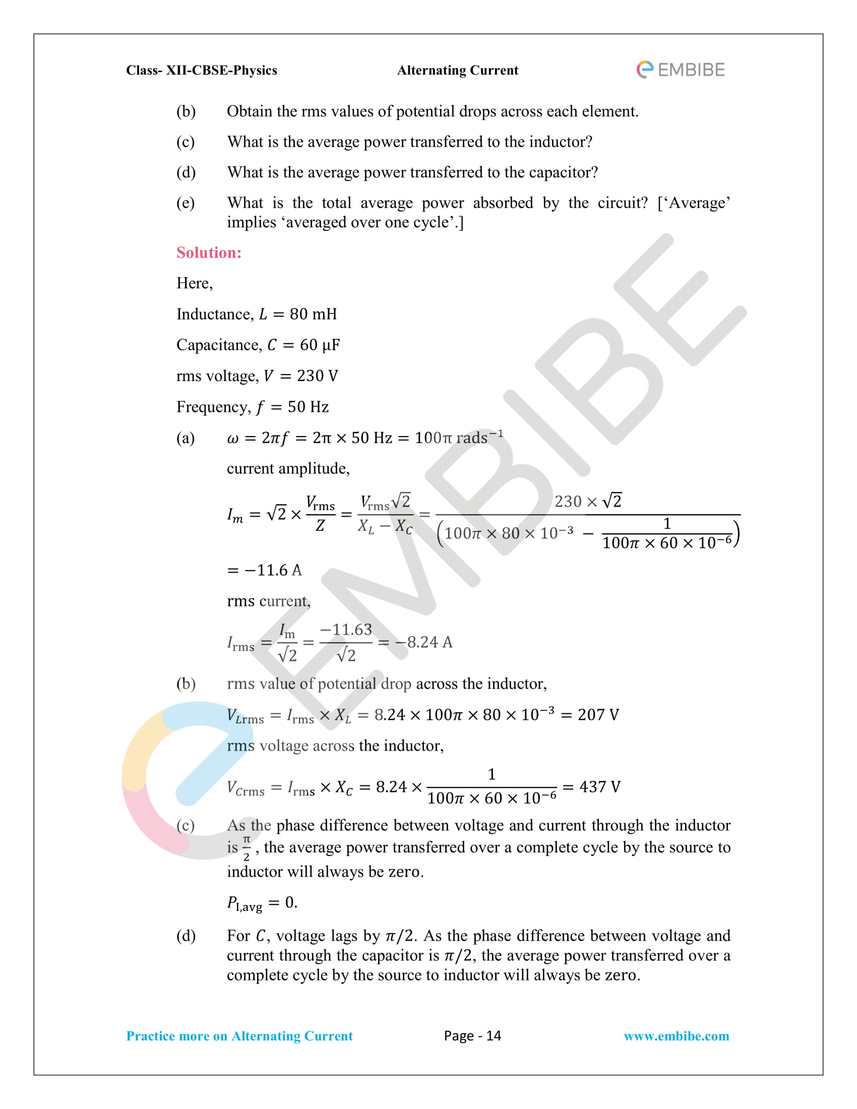 NCERT Solutions for Class 12 Chapter 7 Alternating Current-14