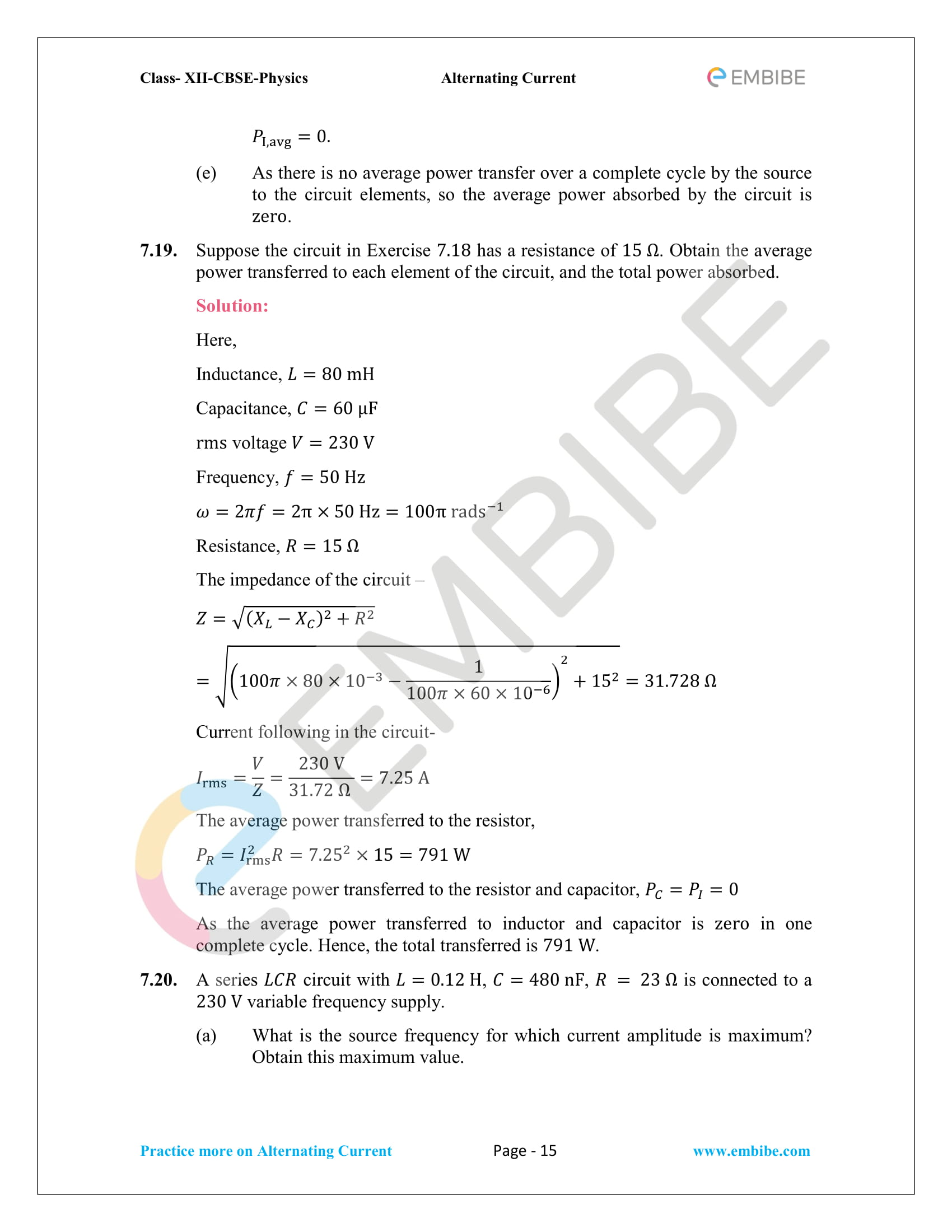 NCERT Solutions for Class 12 Chapter 7 Alternating Current-15