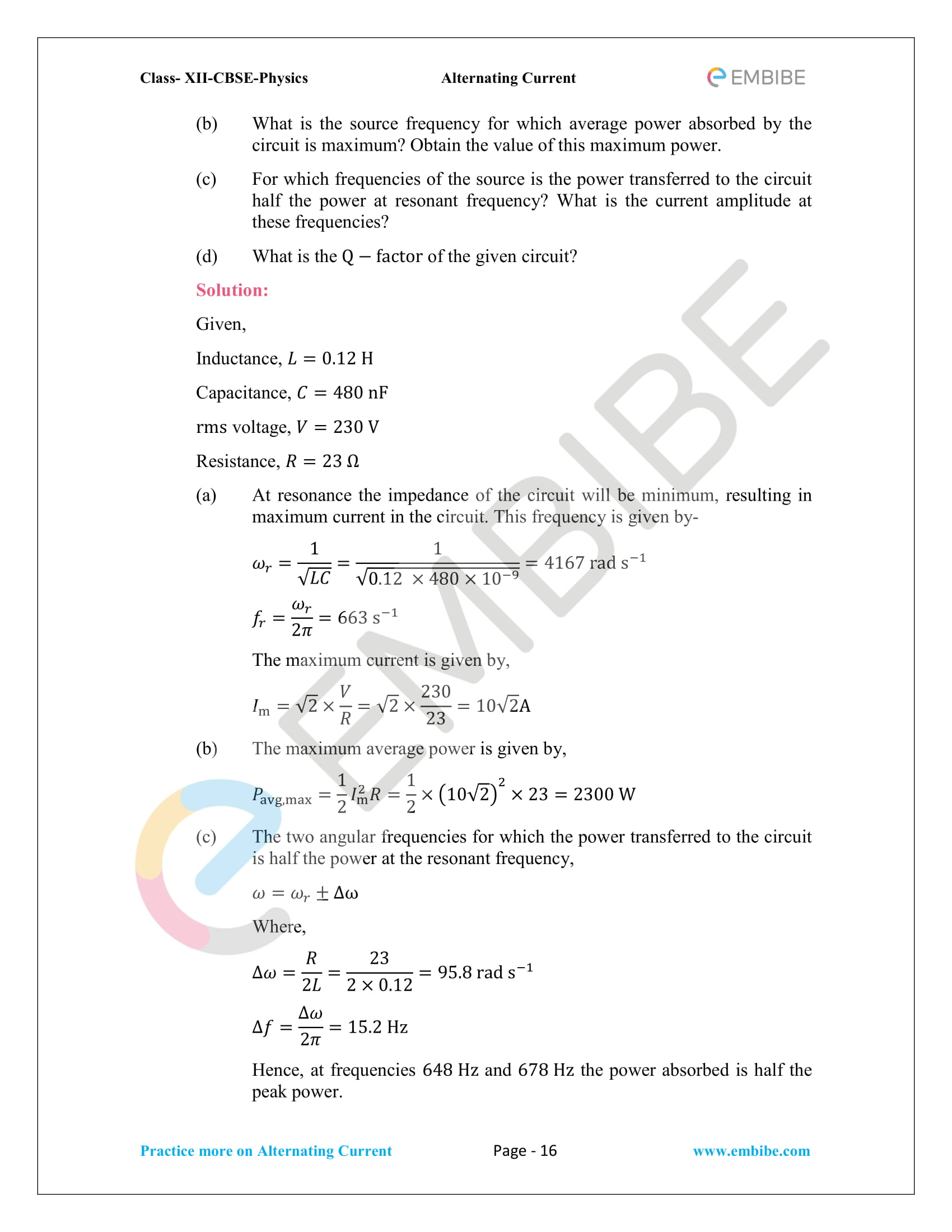NCERT Solutions for Class 12 Chapter 7 Alternating Current-16