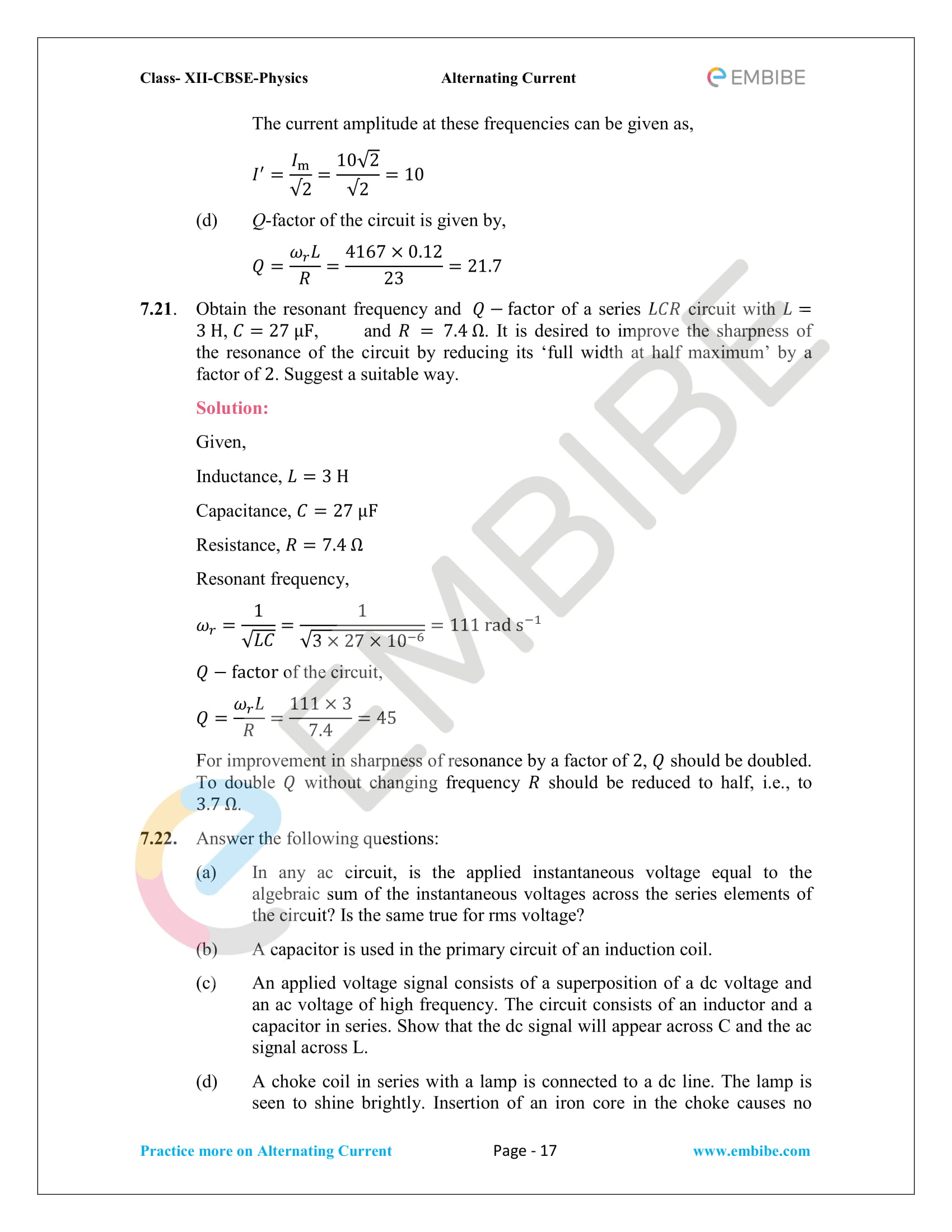 NCERT Solutions for Class 12 Chapter 7 Alternating Current-17