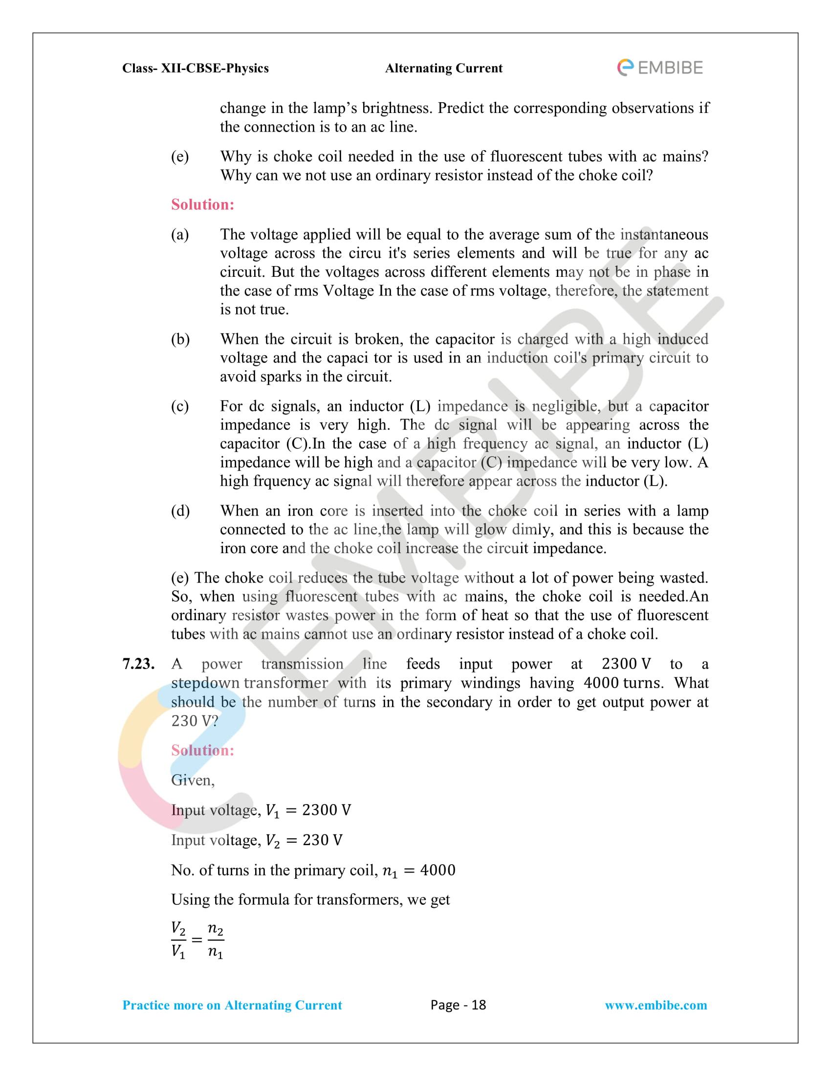 NCERT Solutions for Class 12 Chapter 7 Alternating Current-18