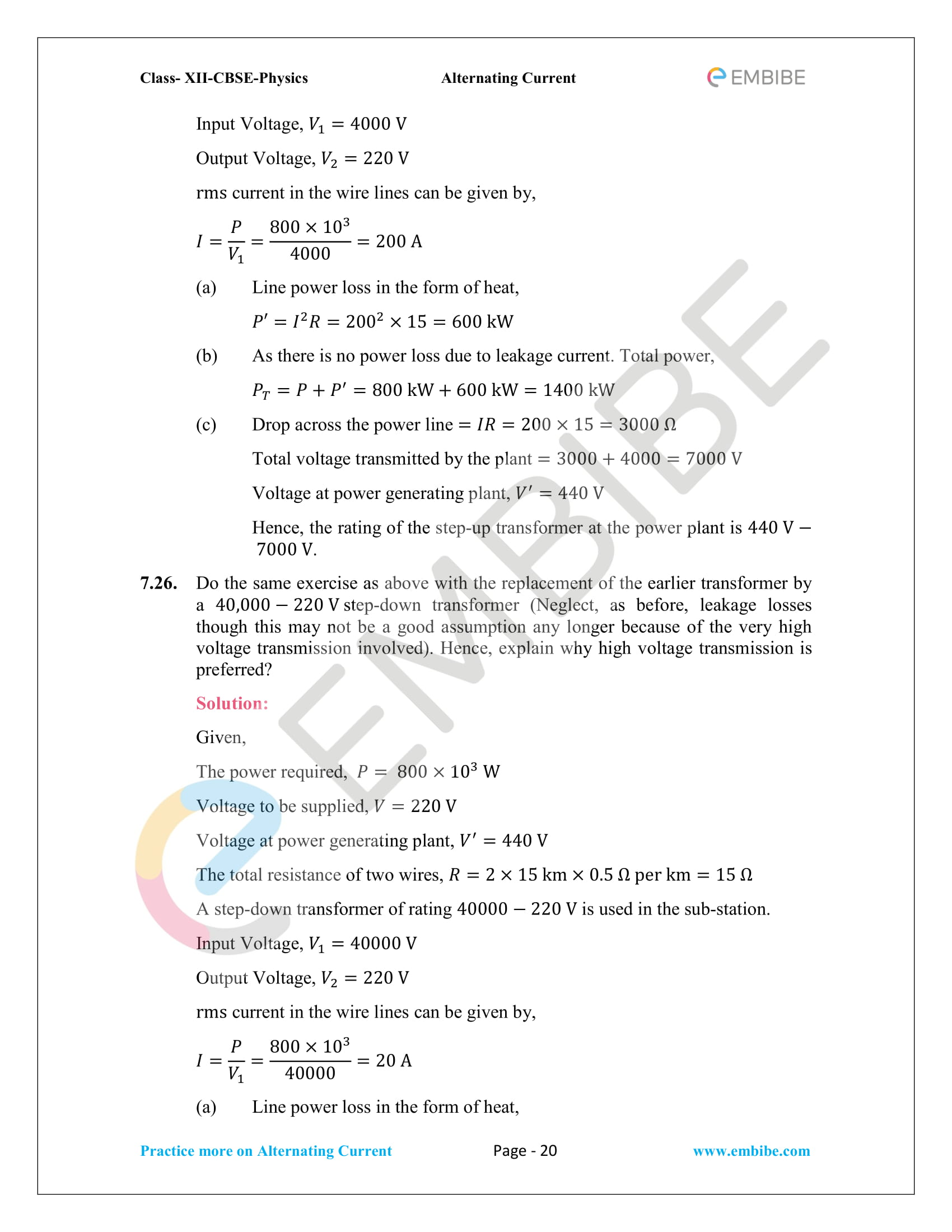 NCERT Solutions for Class 12 Chapter 7 Alternating Current-20