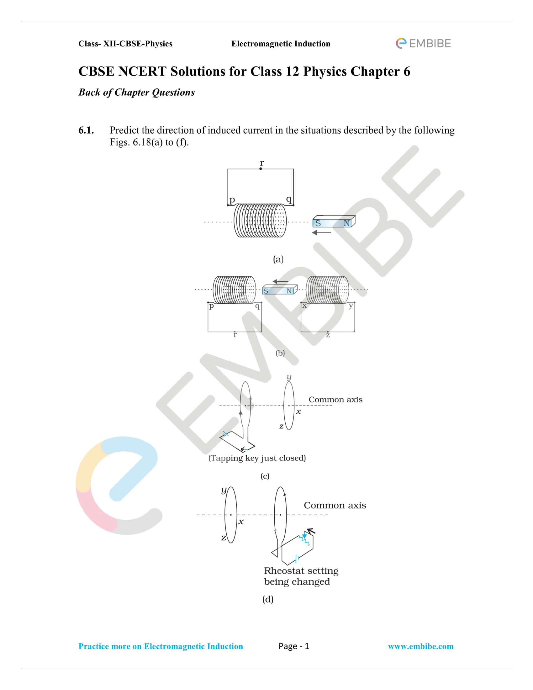 CBSE NCERT Solutions Class 12 Physics Chapter 6 PDF - Electromagnetic Induction -1