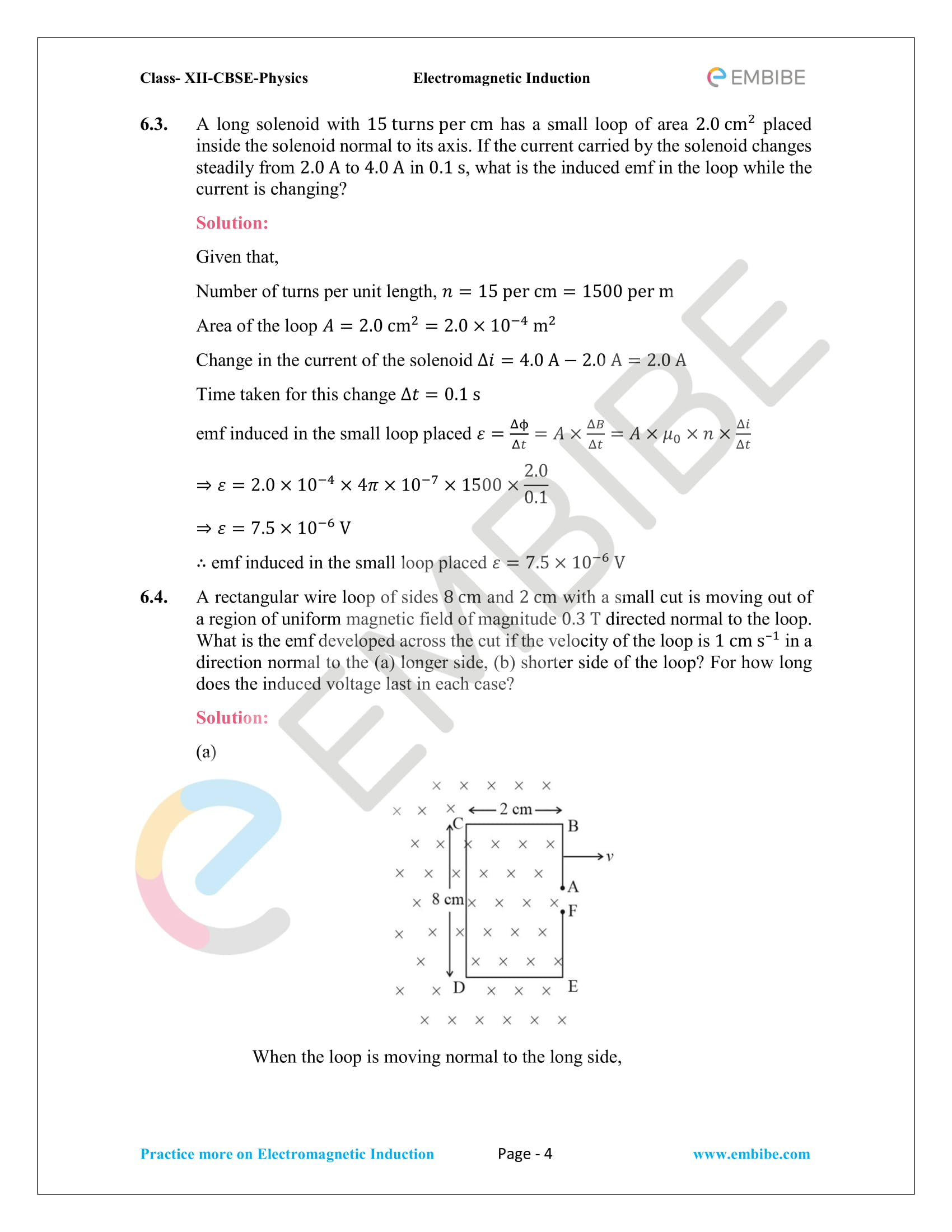 CBSE NCERT Solutions Class 12 Physics Chapter 6 PDF - Electromagnetic Induction - 4