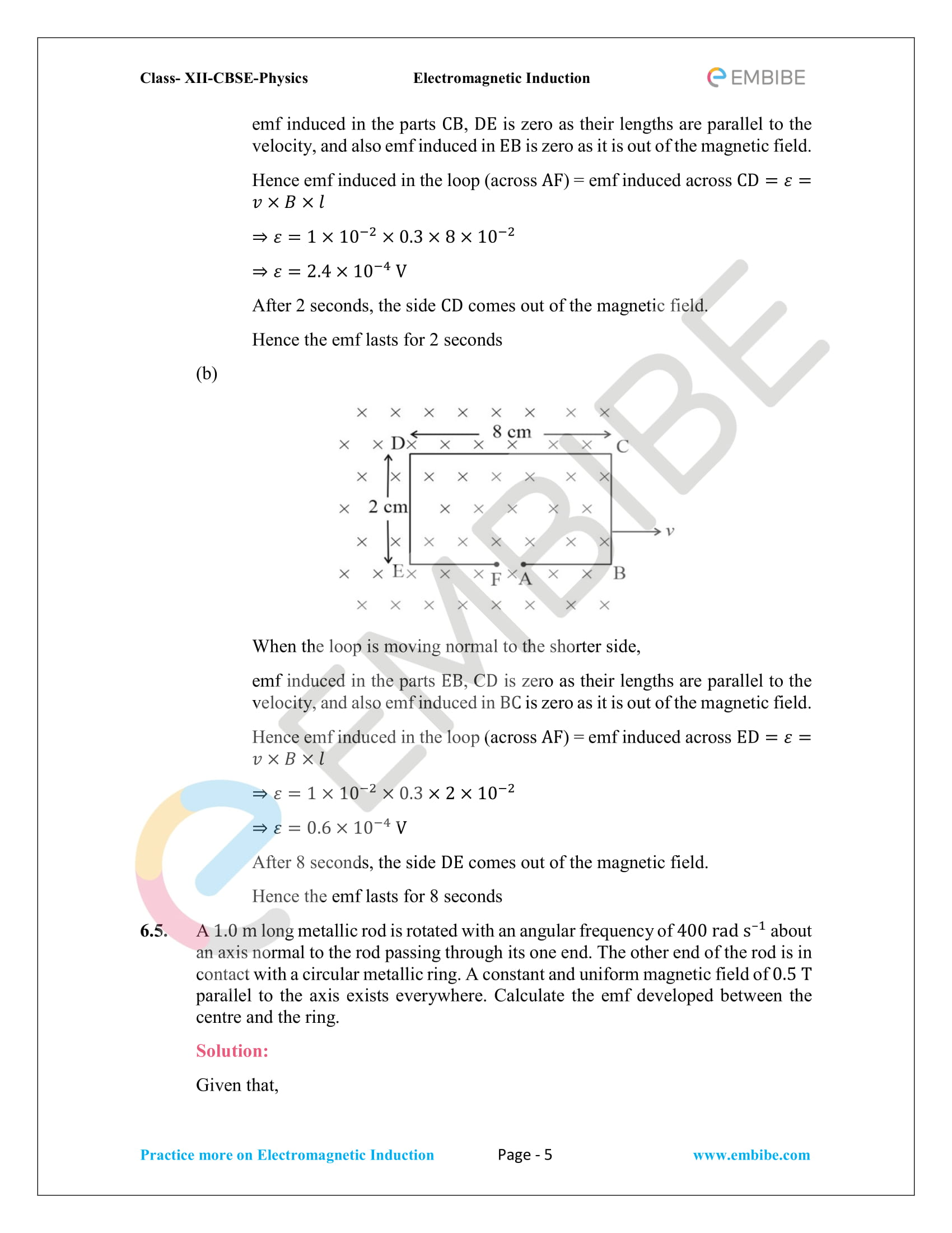 CBSE NCERT Solutions Class 12 Physics Chapter 6 PDF - Electromagnetic Induction - 5