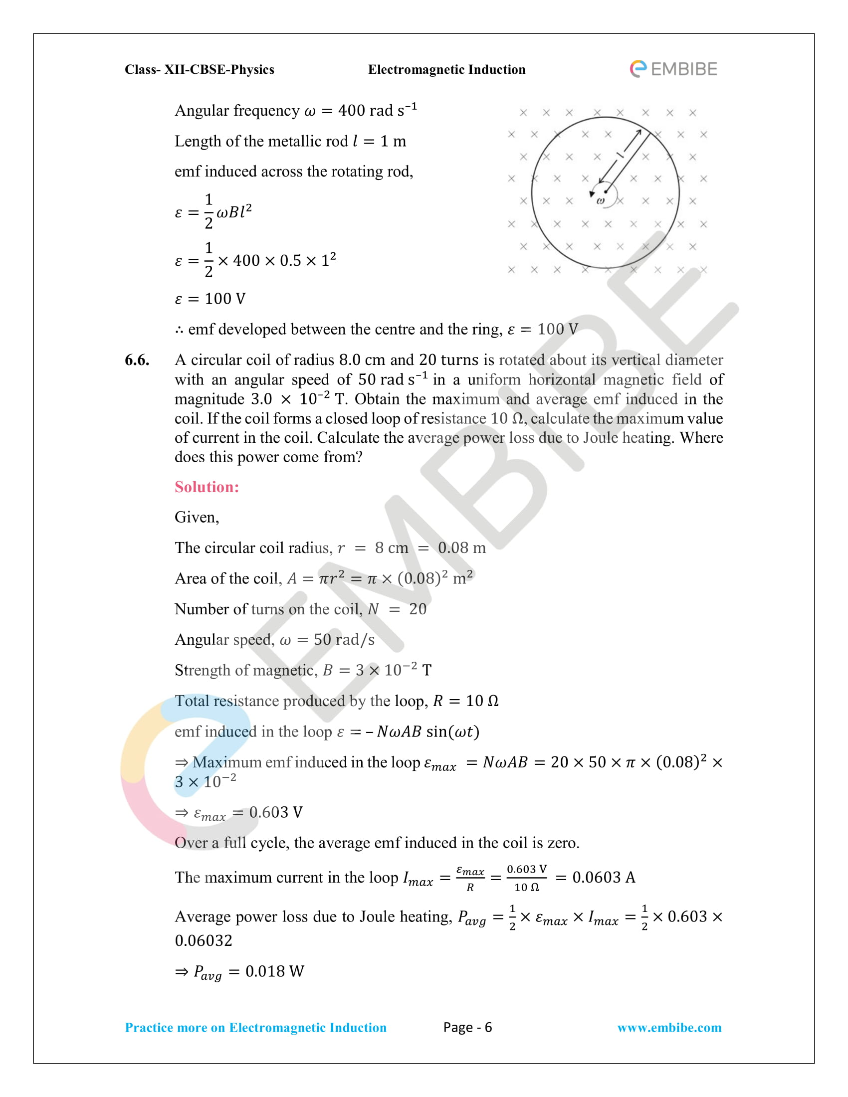 CBSE NCERT Solutions Class 12 Physics Chapter 6 PDF - Electromagnetic Induction - 6