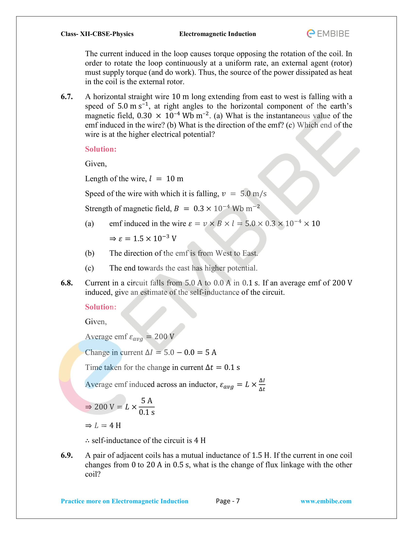 CBSE NCERT Solutions Class 12 Physics Chapter 6 PDF - Electromagnetic Induction - 7