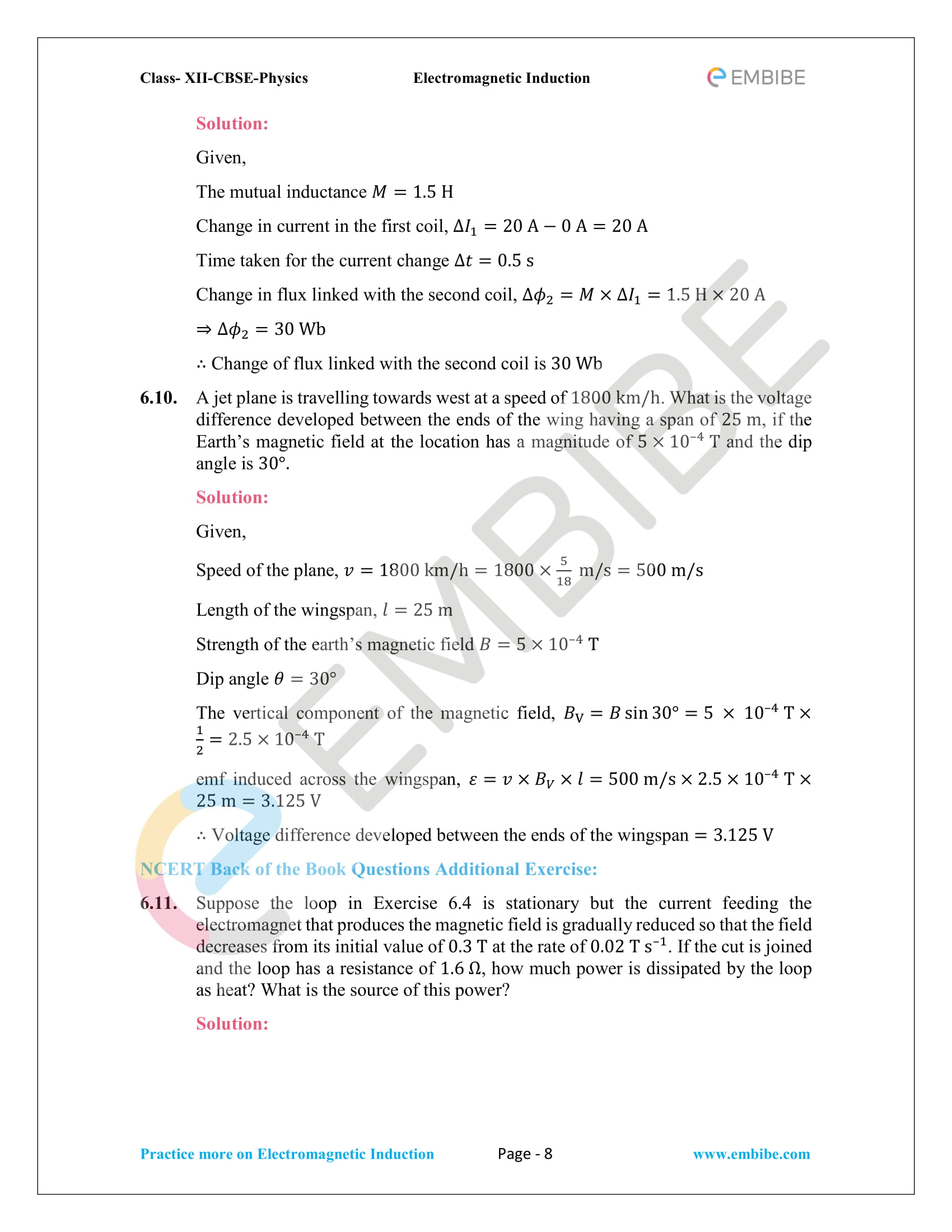CBSE NCERT Solutions Class 12 Physics Chapter 6 PDF - Electromagnetic Induction - 8