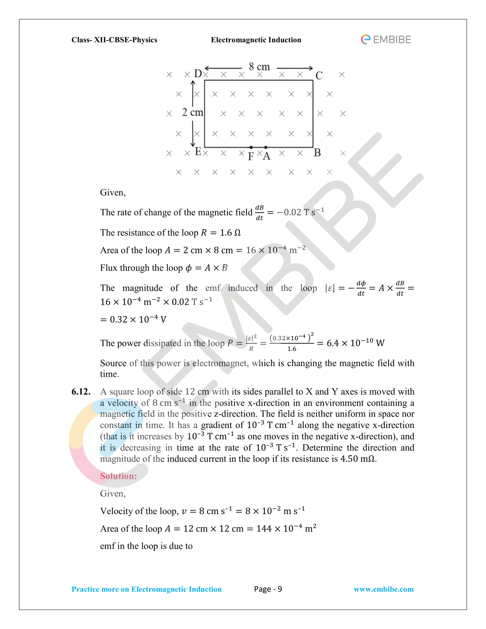 CBSE NCERT Solutions Class 12 Physics Chapter 6 PDF - Electromagnetic Induction - 9