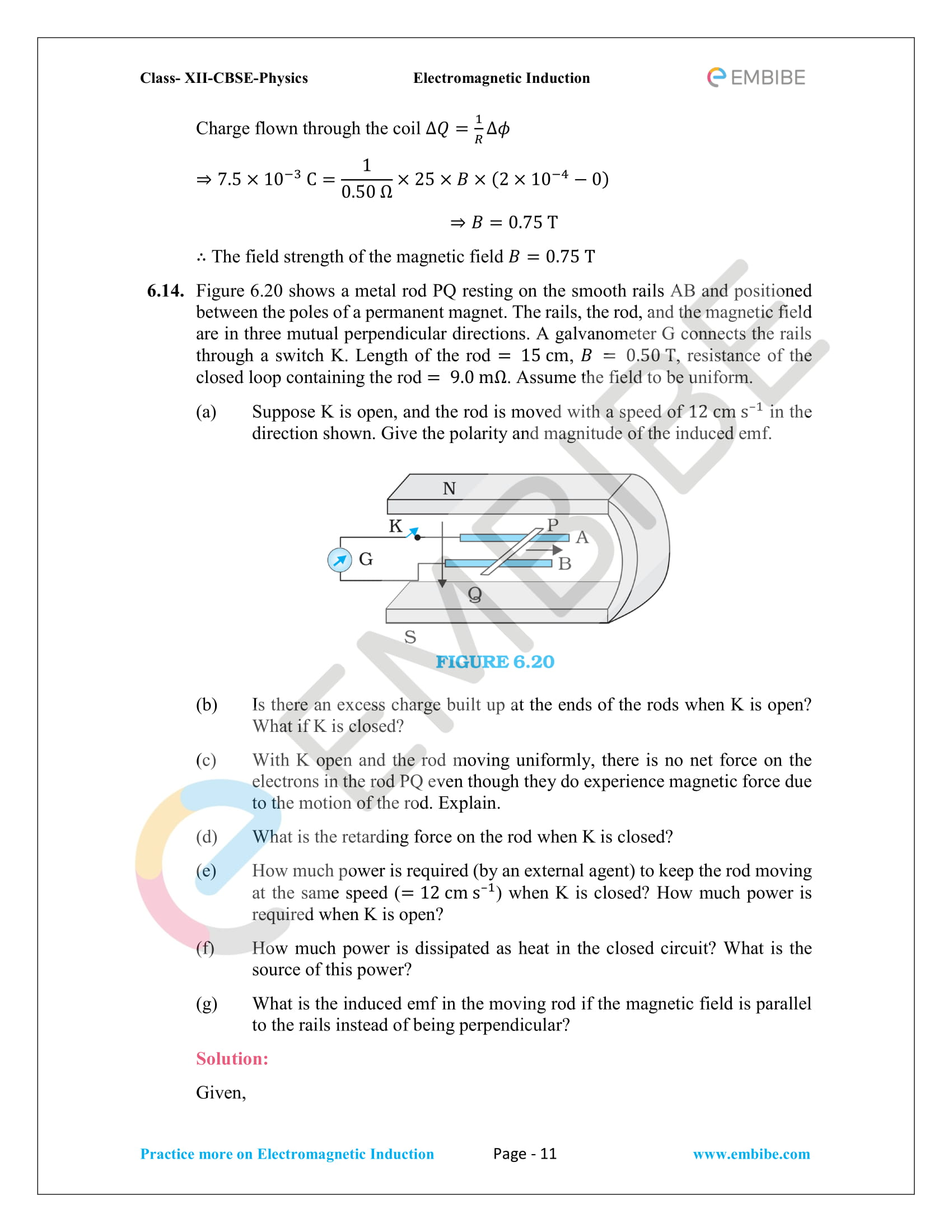 CBSE NCERT Solutions Class 12 Physics Chapter 6 PDF - Electromagnetic Induction - 11