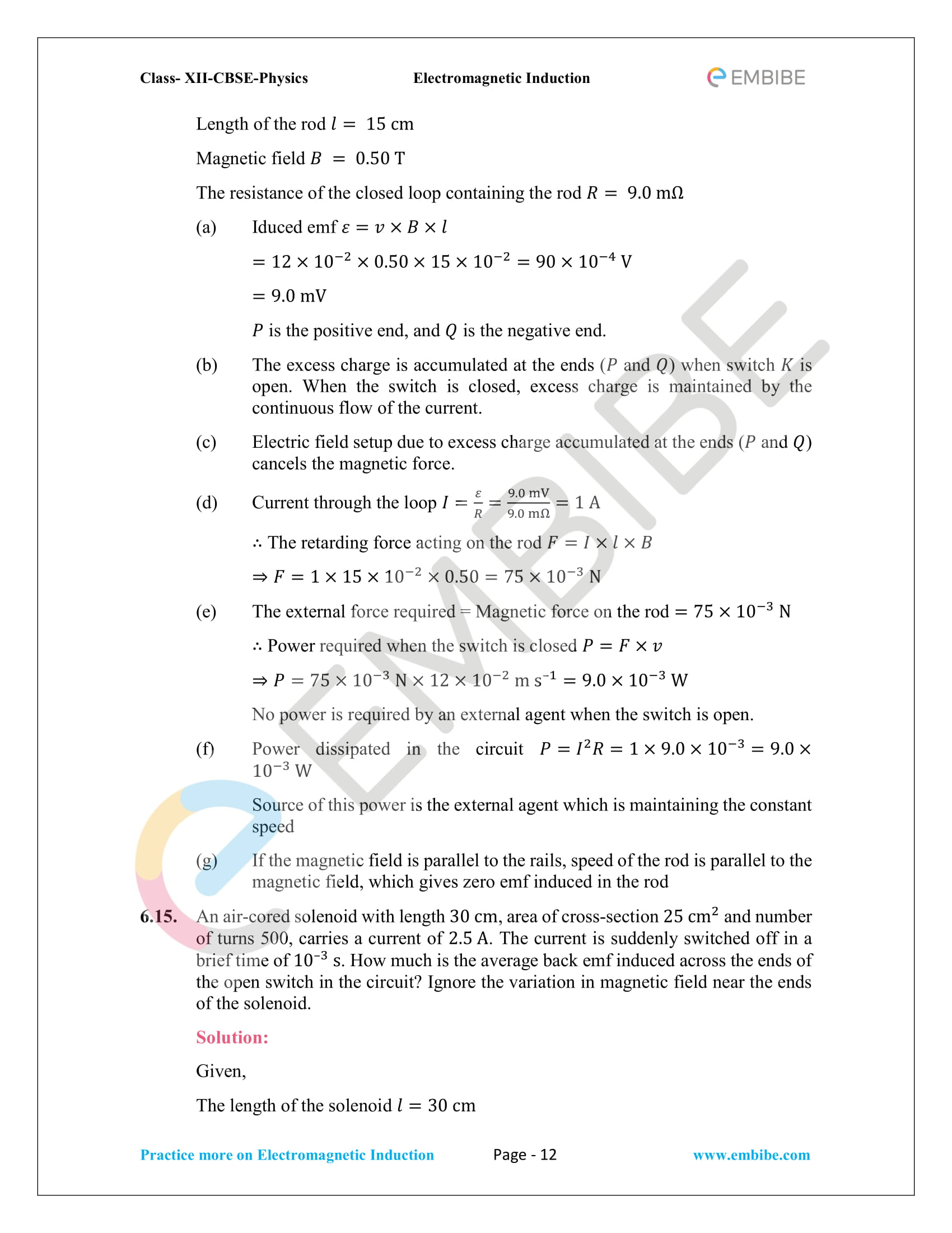 CBSE NCERT Solutions Class 12 Physics Chapter 6 PDF - Electromagnetic Induction - 12