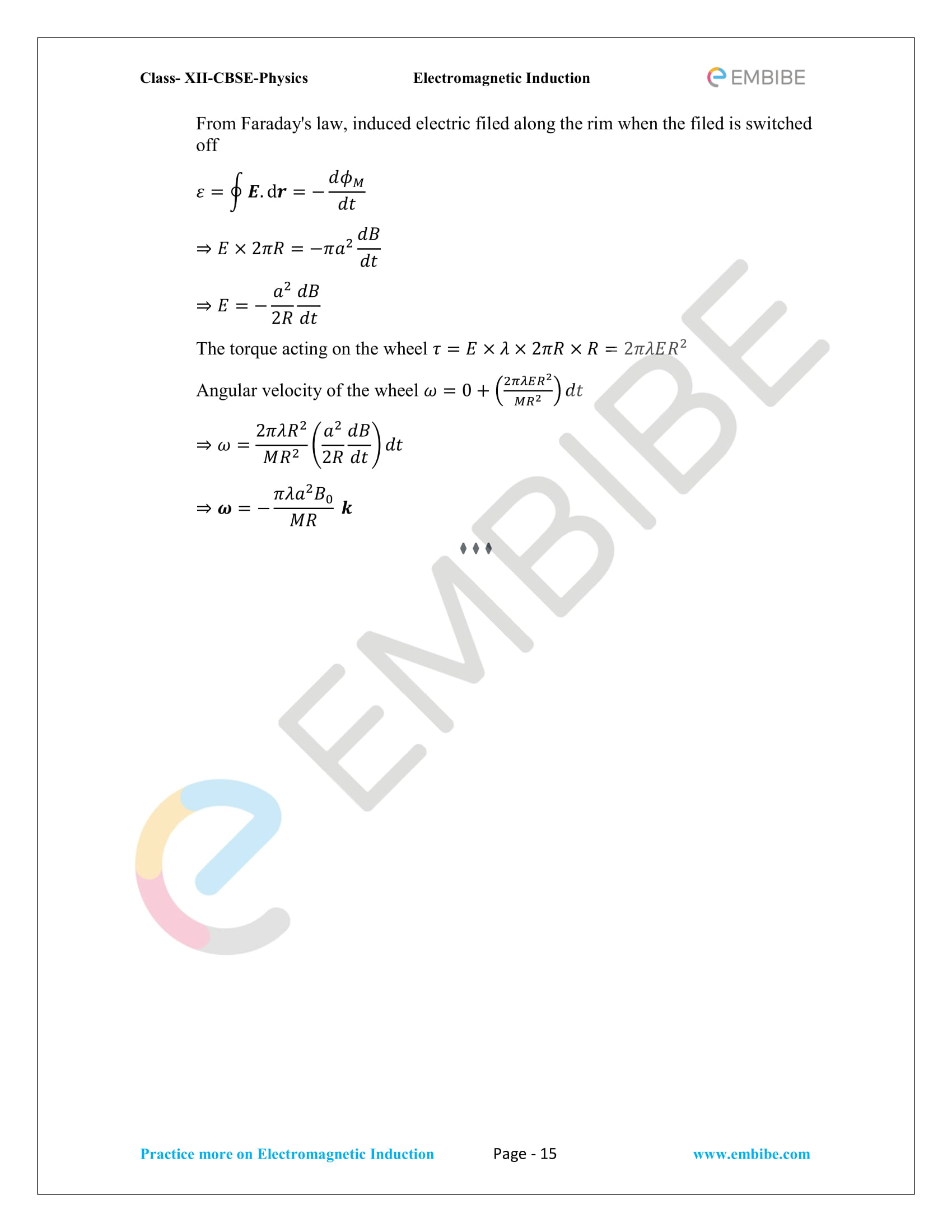 CBSE NCERT Solutions Class 12 Physics Chapter 6 PDF - Electromagnetic Induction - 15