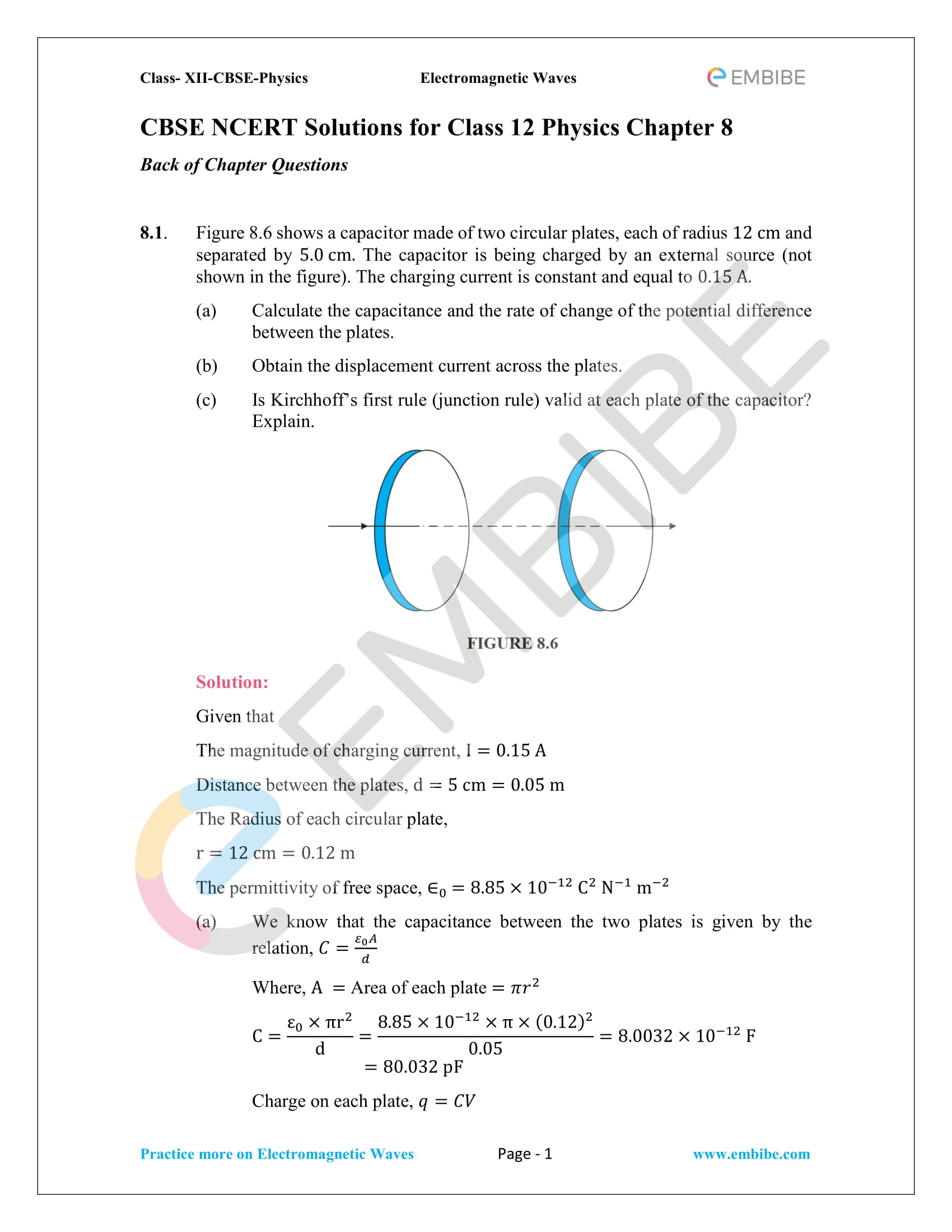 NCERT Solutions for Class 12 Physics Chapter 8 Electromagnetic Waves-01