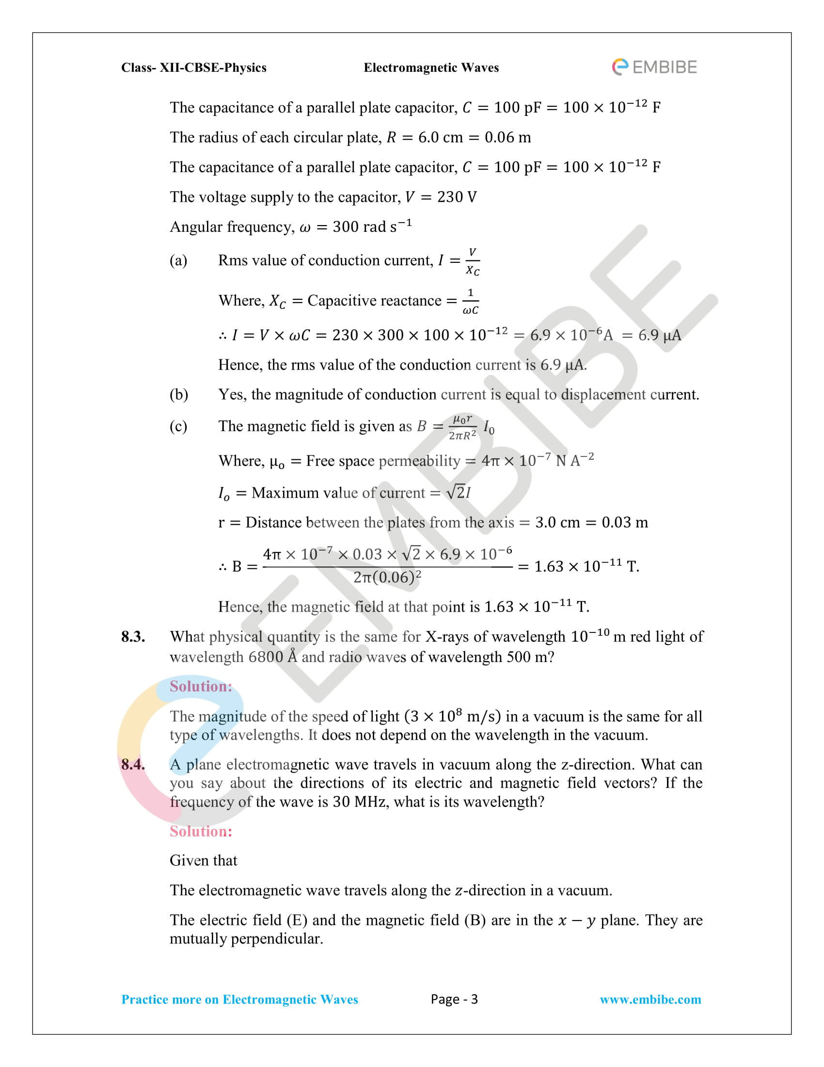 NCERT Solutions for Class 12 Physics Chapter 8 Electromagnetic Waves-03