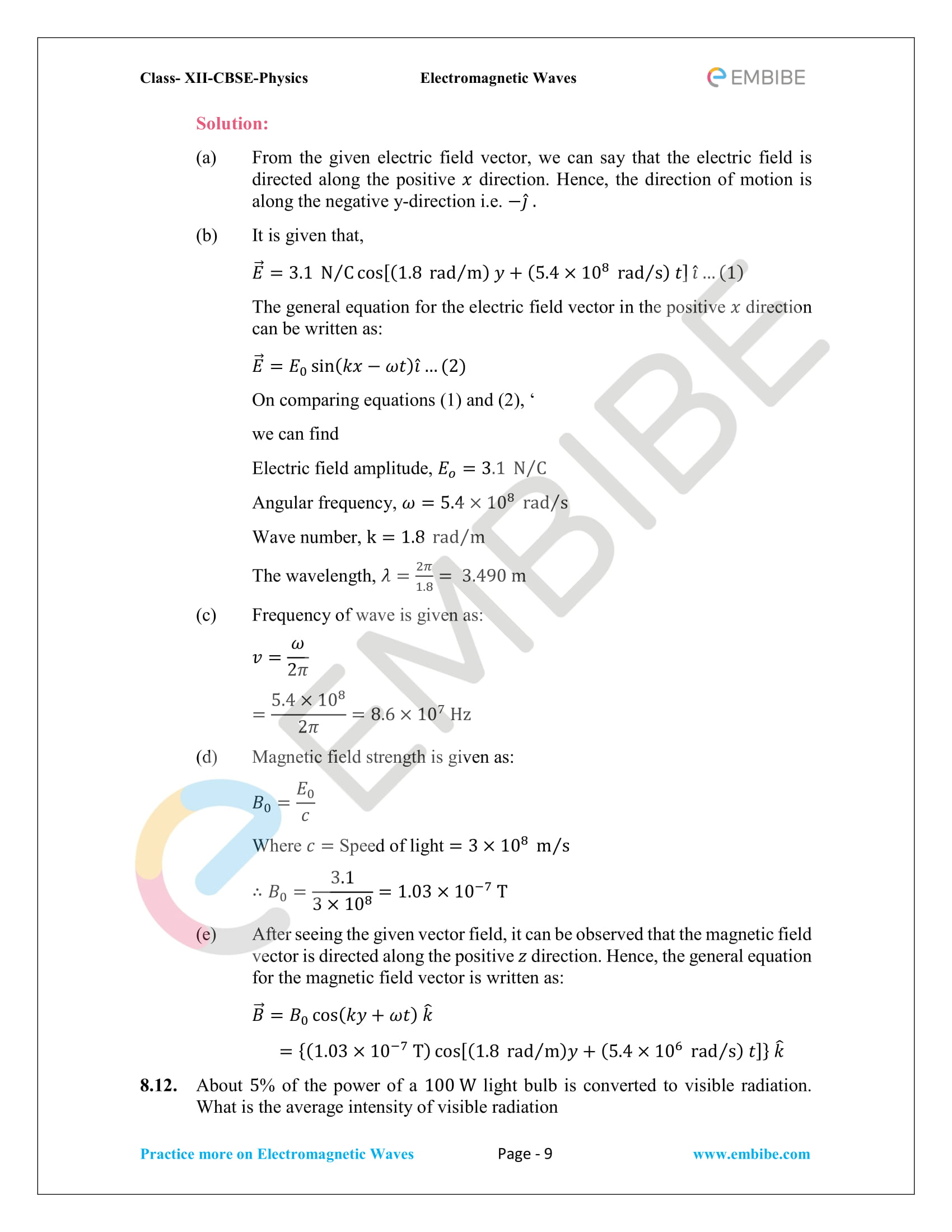 NCERT Solutions for Class 12 Physics Chapter 8 Electromagnetic Waves-09