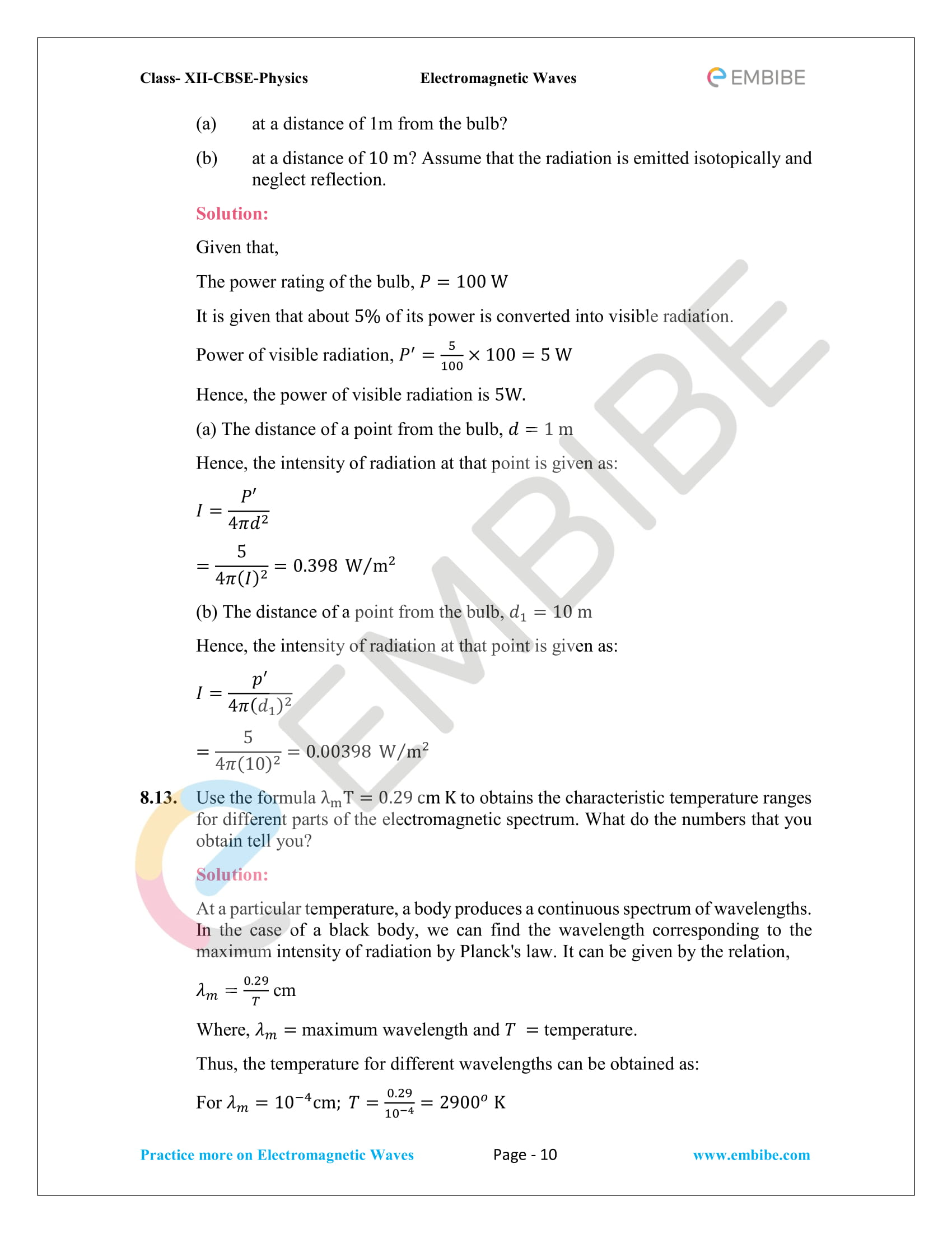 NCERT Solutions for Class 12 Physics Chapter 8 Electromagnetic Waves-10