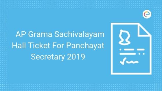 AP Grama Sachivalayam Hall Ticket For Panchayat Secretary