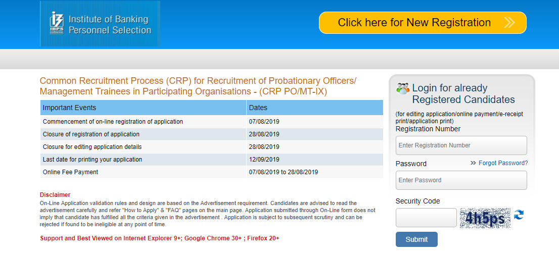 IBPS PO Application Form- Embibe