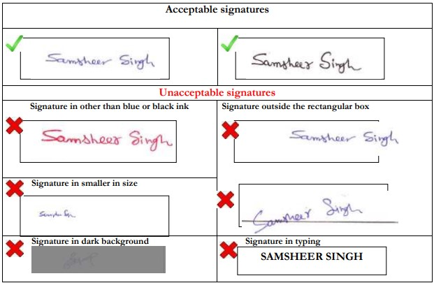 JEE Main Application Form - Signature Spefications