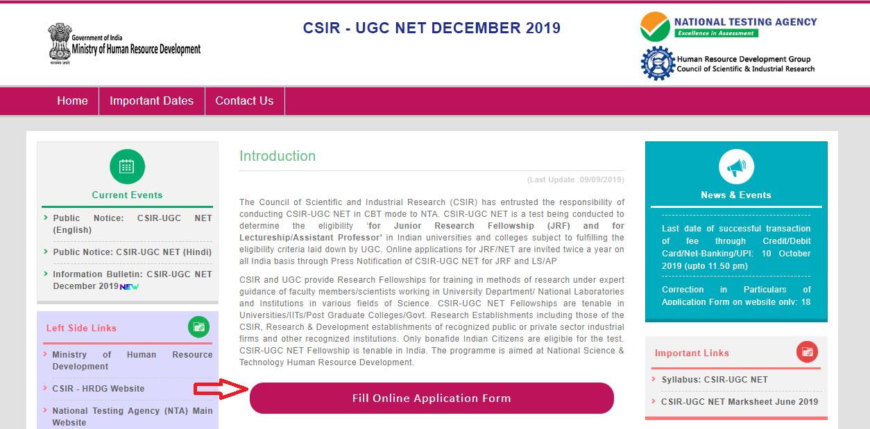 CSIR-NET-Application -Form-homepage