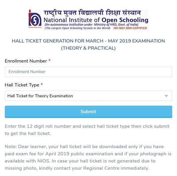 Nios Class 10 and Class 12 admit card
